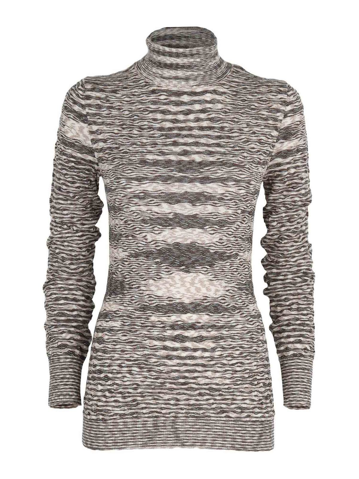 Missoni WOOL PULLOVER IN GREY AND BEIGE