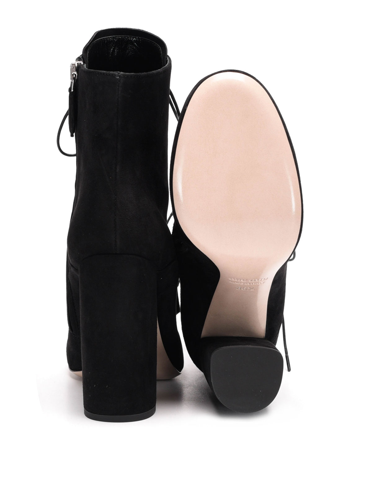 Miu Miu - Laced-up suede ankle boots