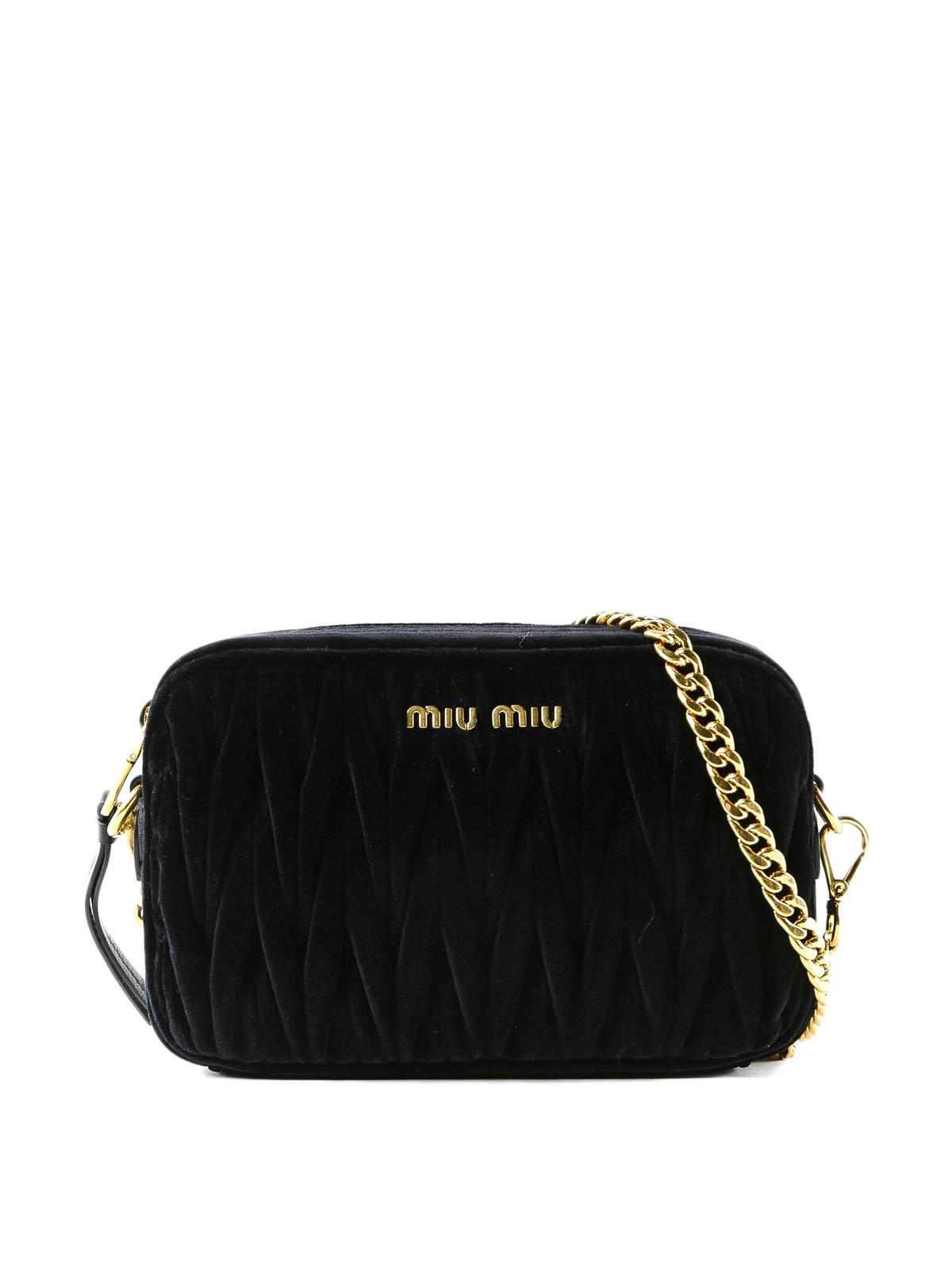 b4fcd37cfd41 Miu Miu - Black matelassé velvet camera bag - cross body bags ...
