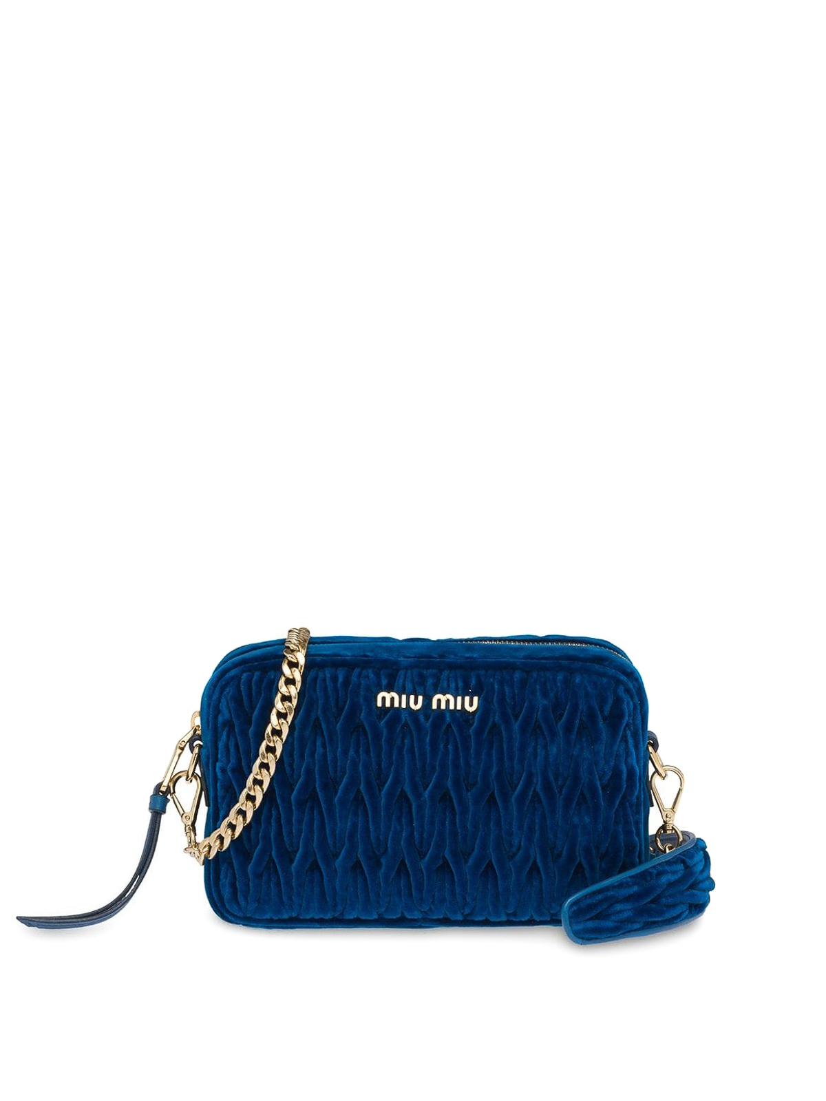 Miu Miu - Blue matelassé velvet camera bag - cross body bags ... 1c477eaafab68