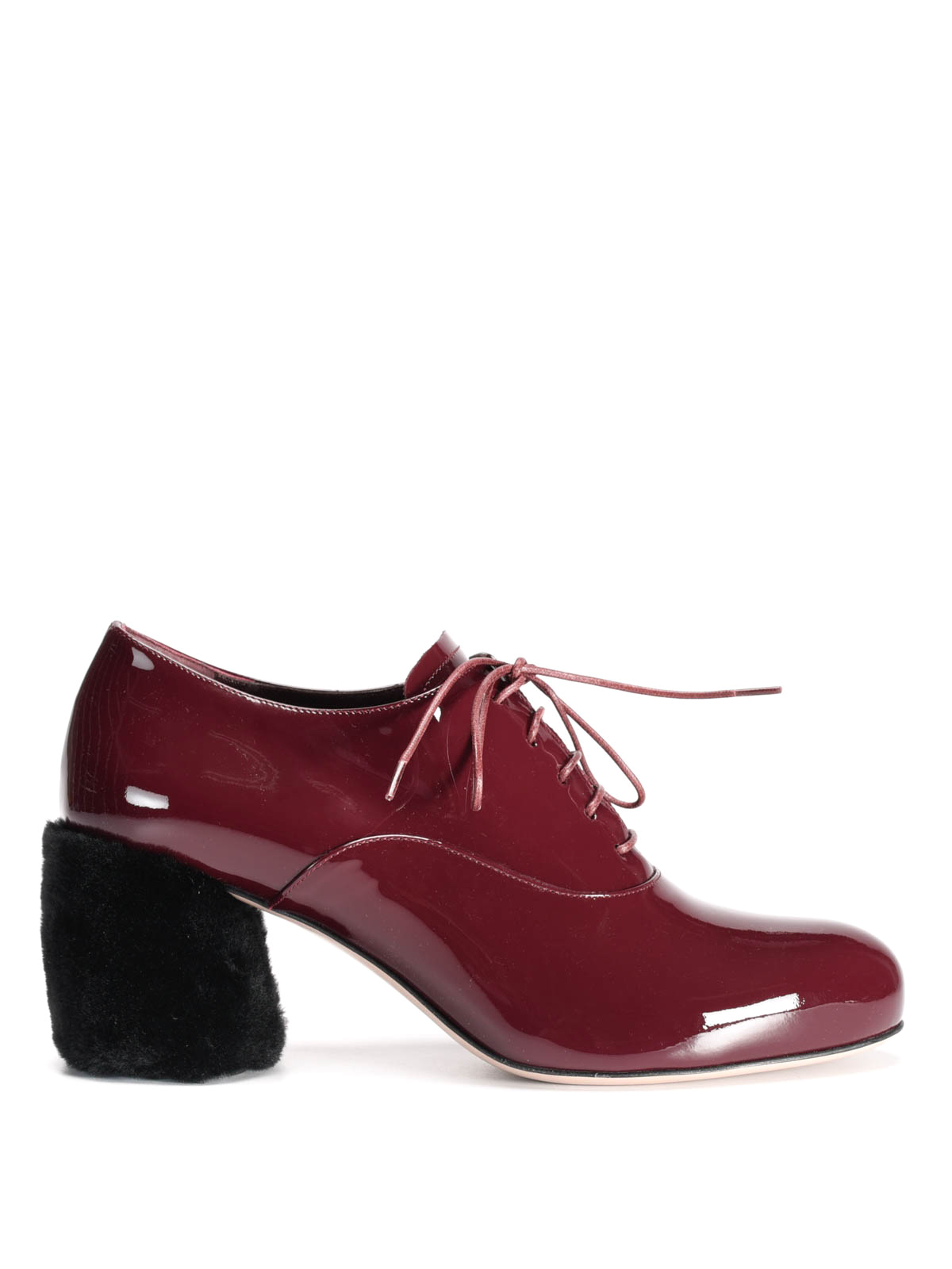 Miu Miu - Fur detailed patent leather shoes - lace-ups shoes ... 64b6649277a3