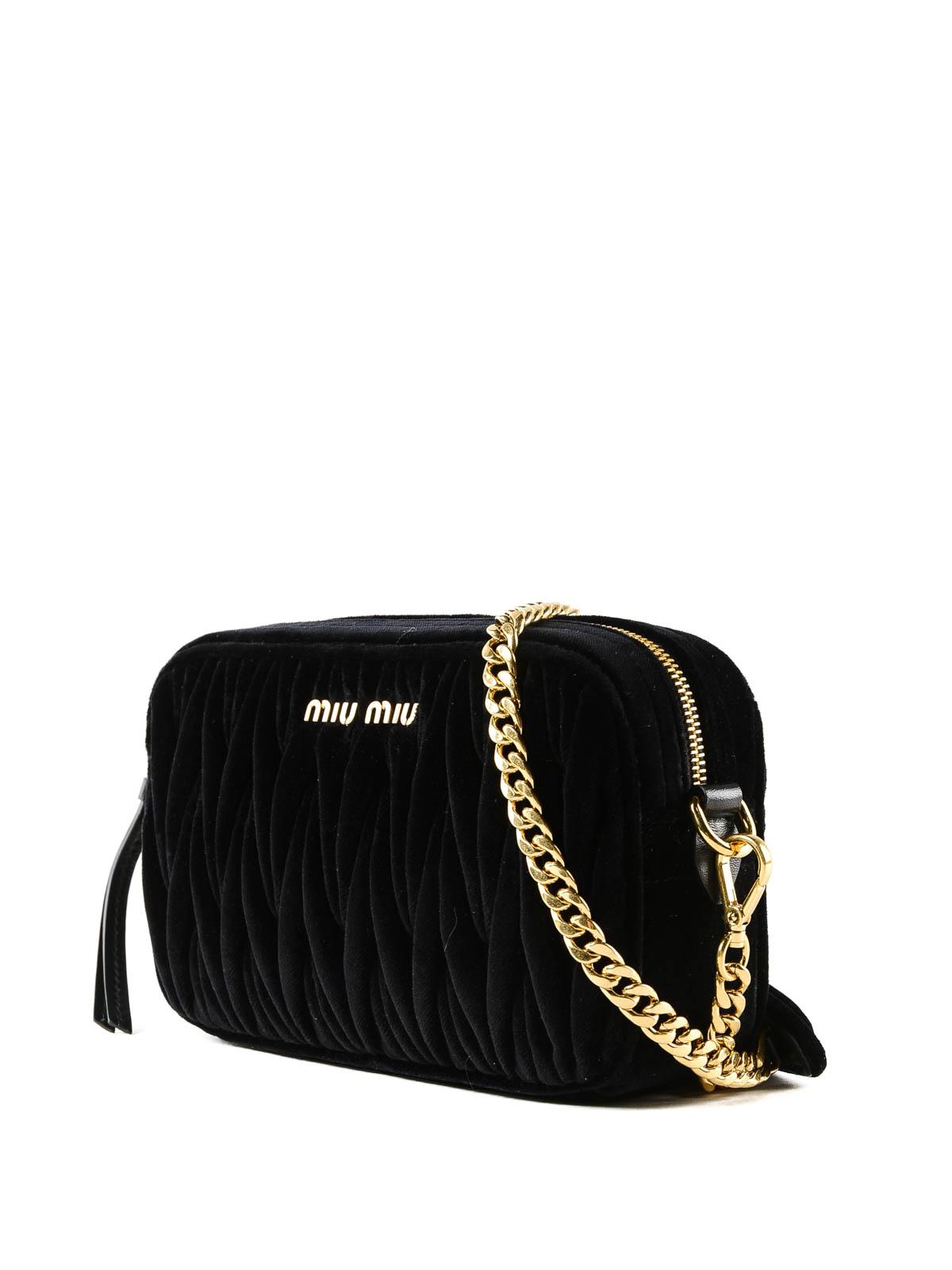1b2b2e6bd1cb MIU MIU  cross body bags online - Black matelassé velvet camera bag
