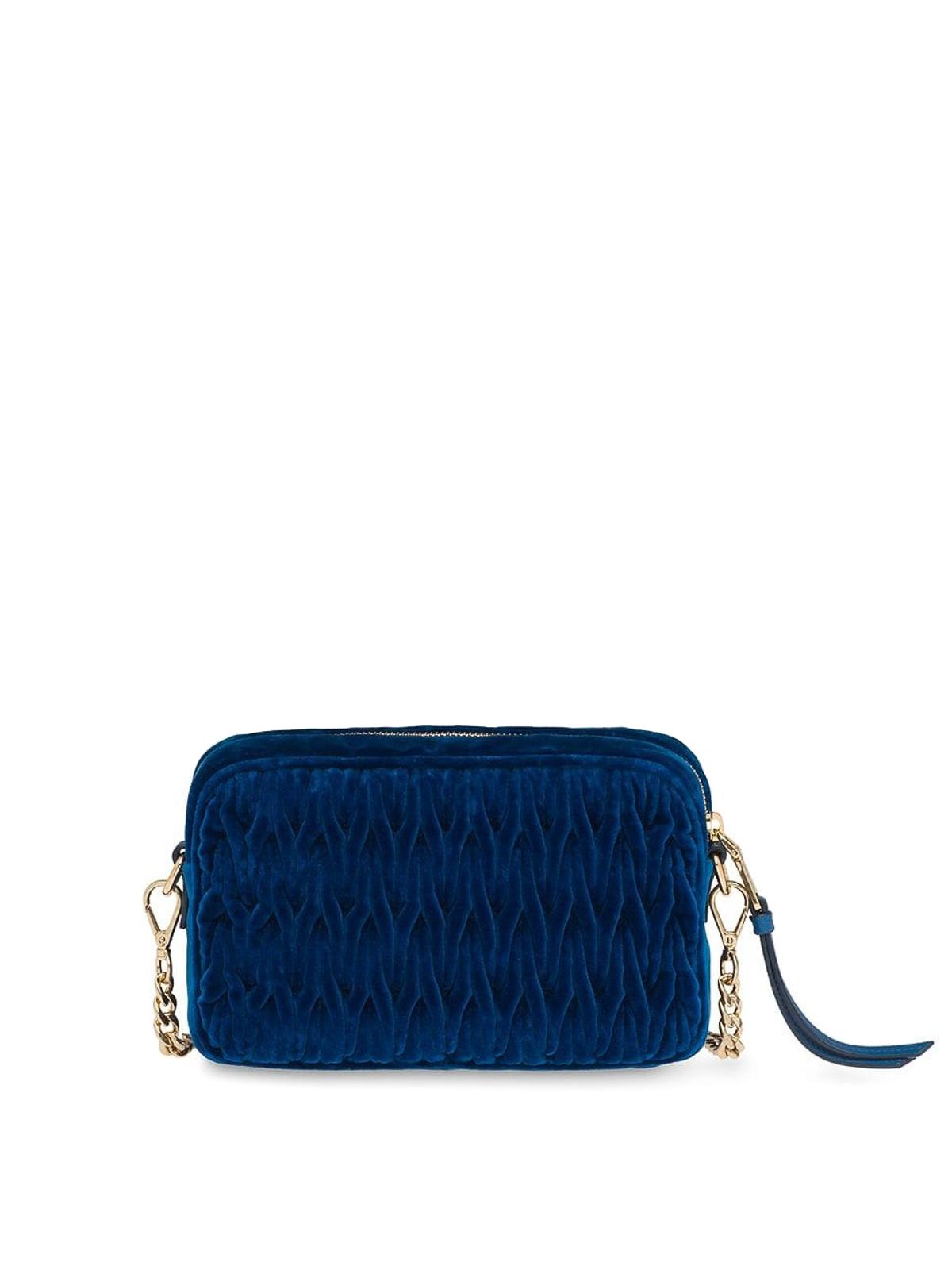 MIU MIU  cross body bags online - Blue matelassé velvet camera bag 272ad8280e843