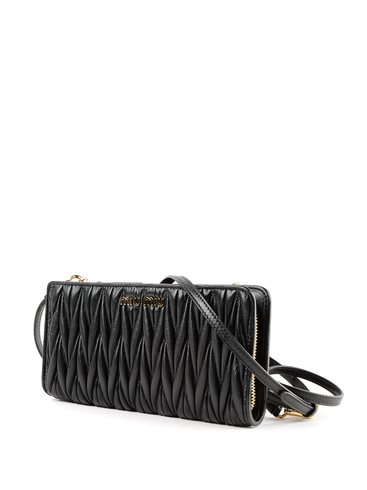 MIU MIU  wallets   purses online - Matelassé leather wallet with shoulder  strap a715229a1cd03
