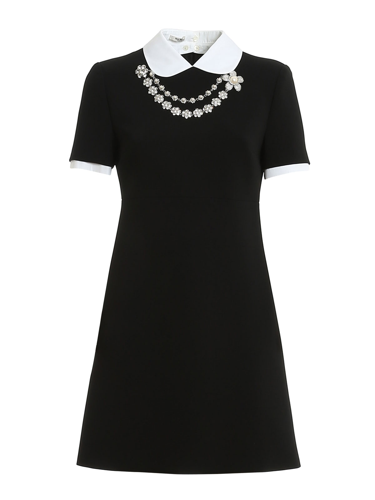 Miu Miu JEWEL EMBELLISHED CADY DRESS