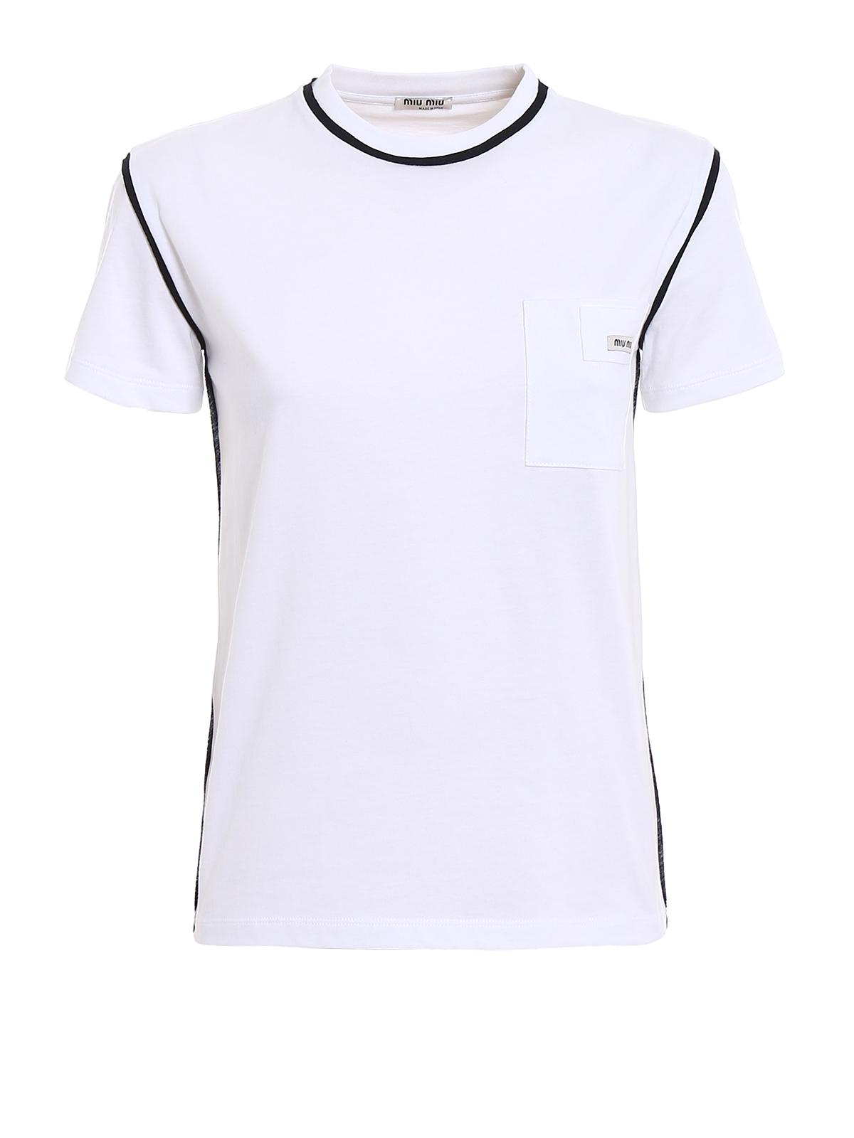 Contrasting piping t shirt by miu miu t shirts ikrix for Miu miu t shirt