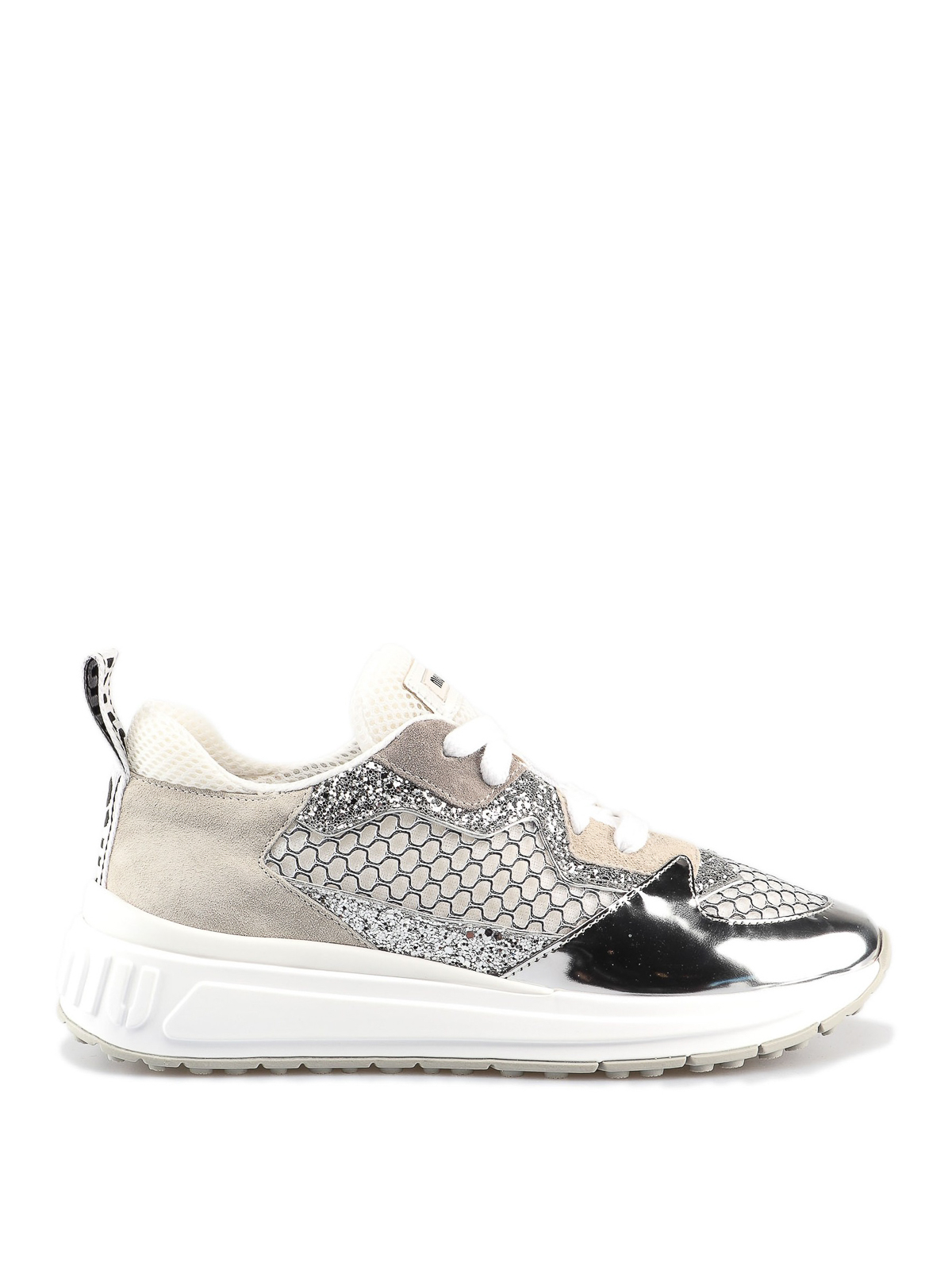 miu miu glitter mesh and leather sneakers trainers. Black Bedroom Furniture Sets. Home Design Ideas