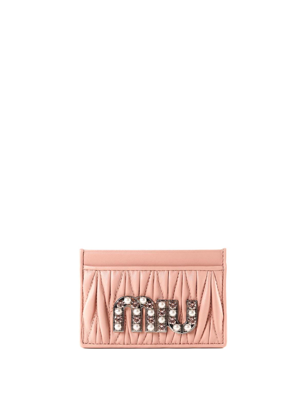 Miu Miu - Crystal logo pink matelassé card holder - wallets   purses ... e78e834de2c38