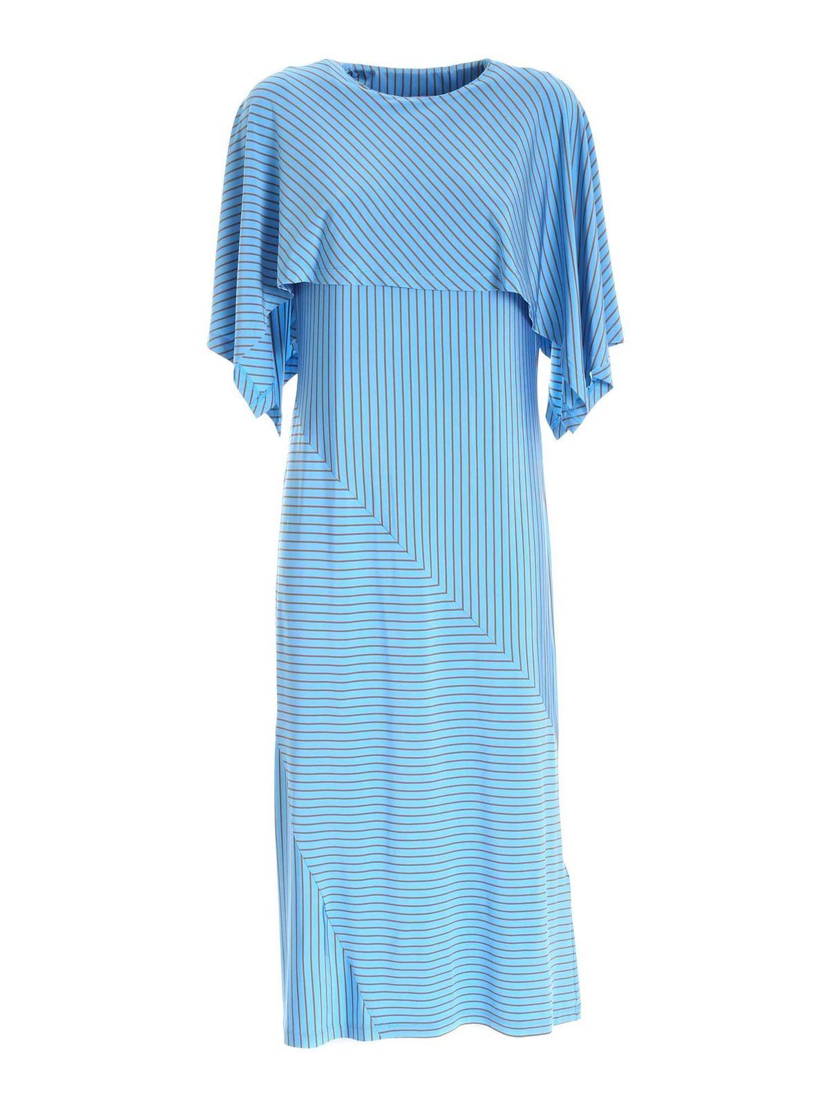 Mm6 Maison Margiela Dresses LONG DRESS WITH STRIPED PATTERN IN LIGHT BLUE