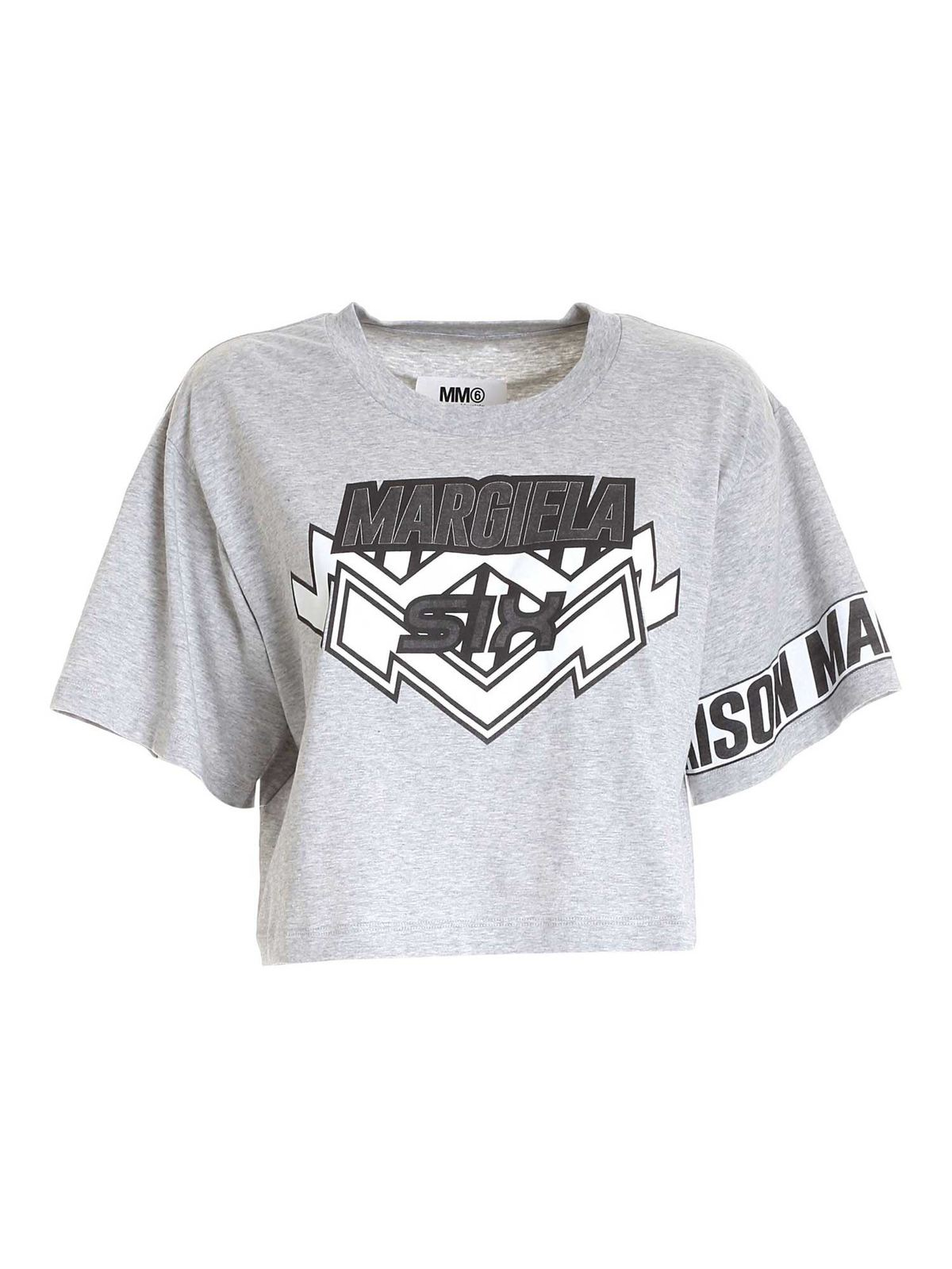 Mm6 Maison Margiela Cottons SHORT T-SHIRT WITH PRINT IN GREY