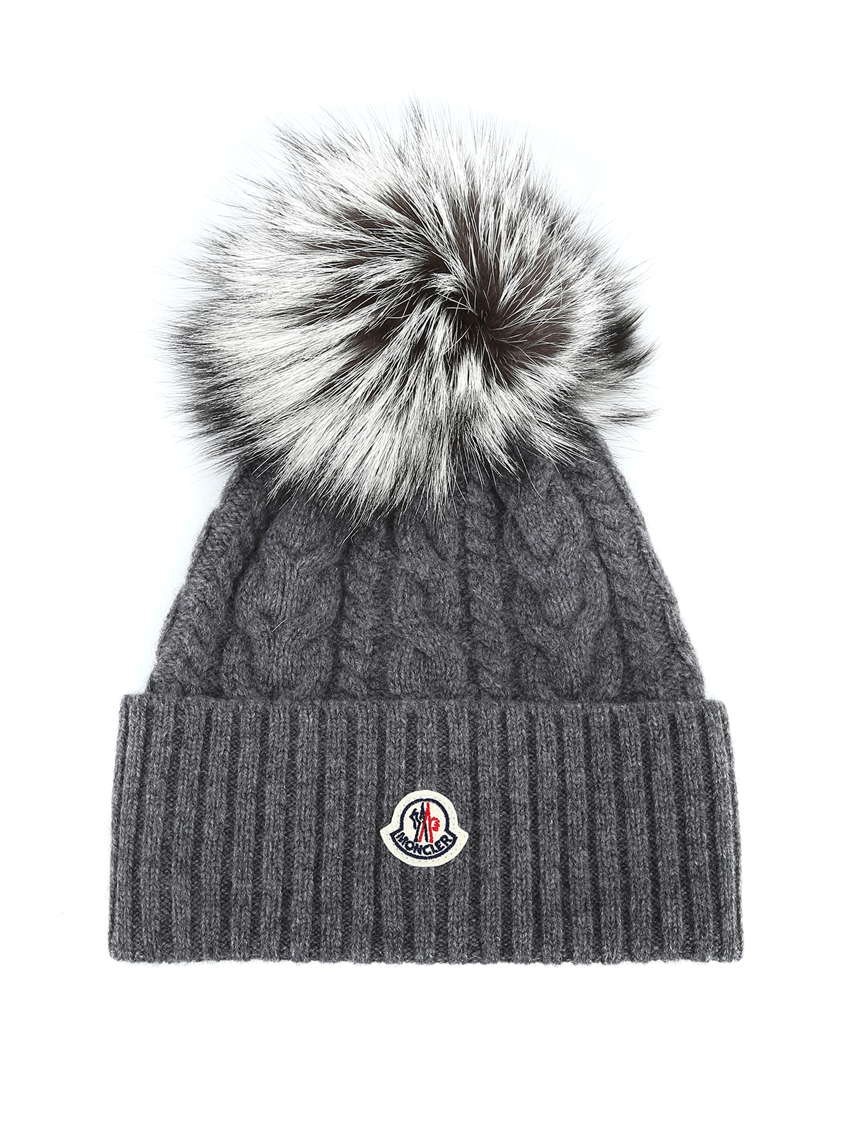 MONCLER: beanies - Fur pompom grey cable knit beanie
