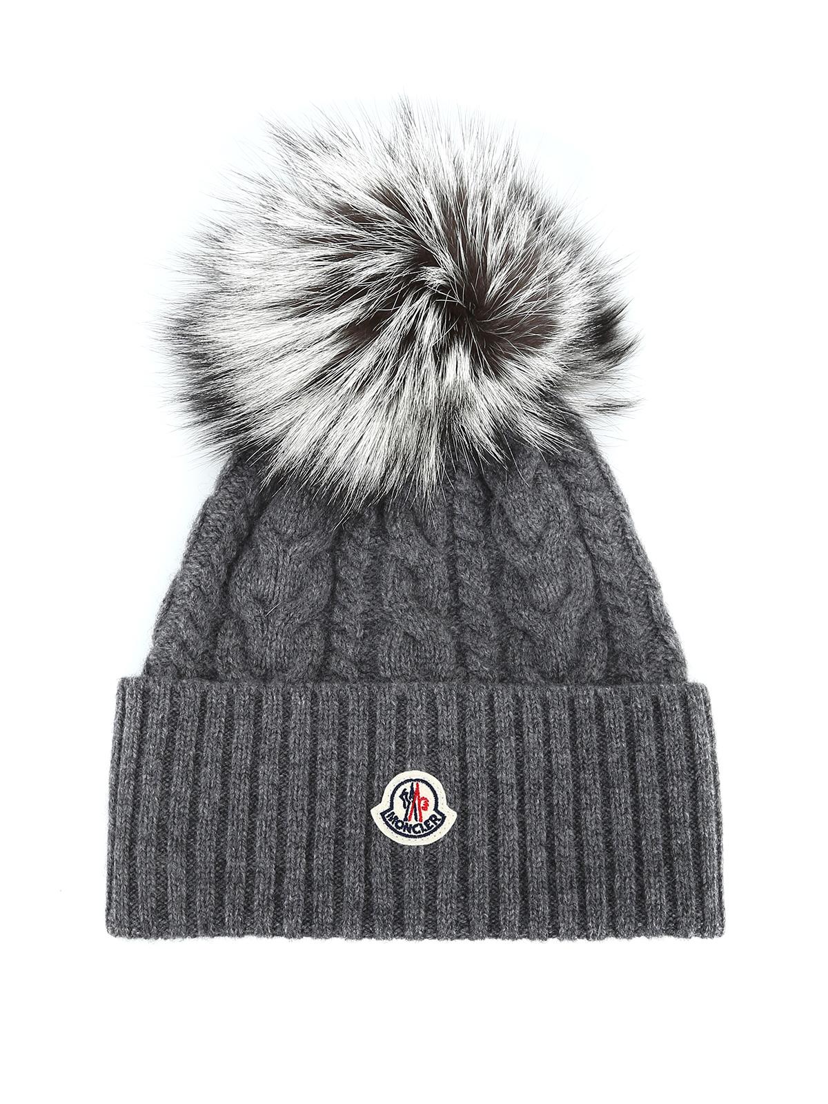 d737b956dcb91 Moncler - Fur pompom grey cable knit beanie - beanies - D2 093 ...