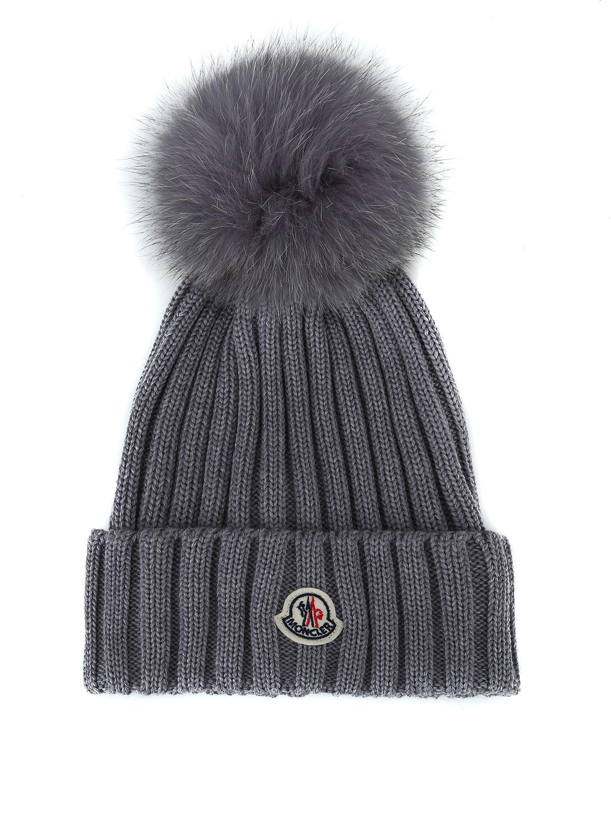 Moncler - Fur pompom grey ribbed wool beanie - beanies - D2 093 ... f284d8e9f9c