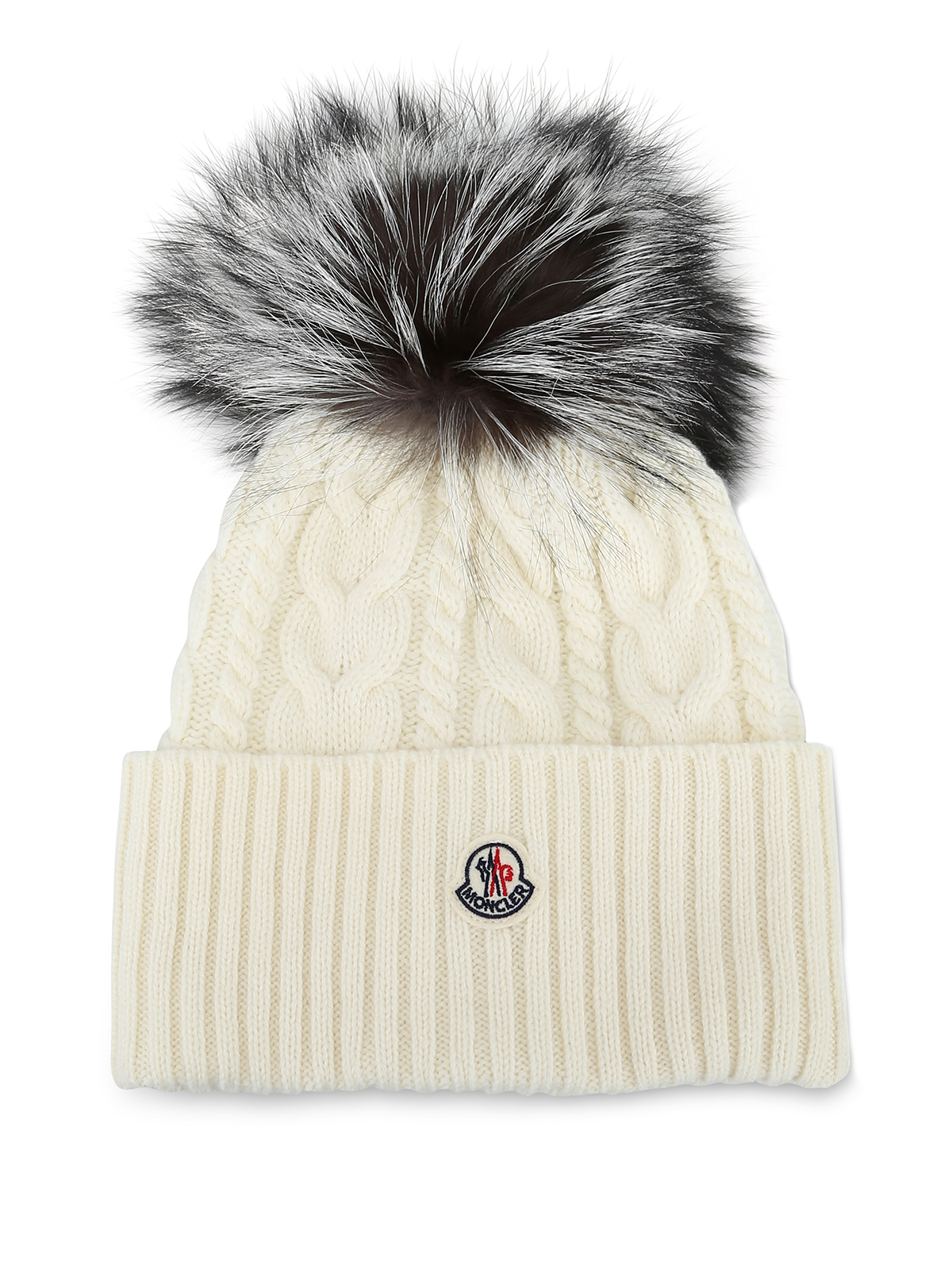 Moncler - Fur pompom white cable knit beanie - beanies - D2 093 ... 05e2c940ad7
