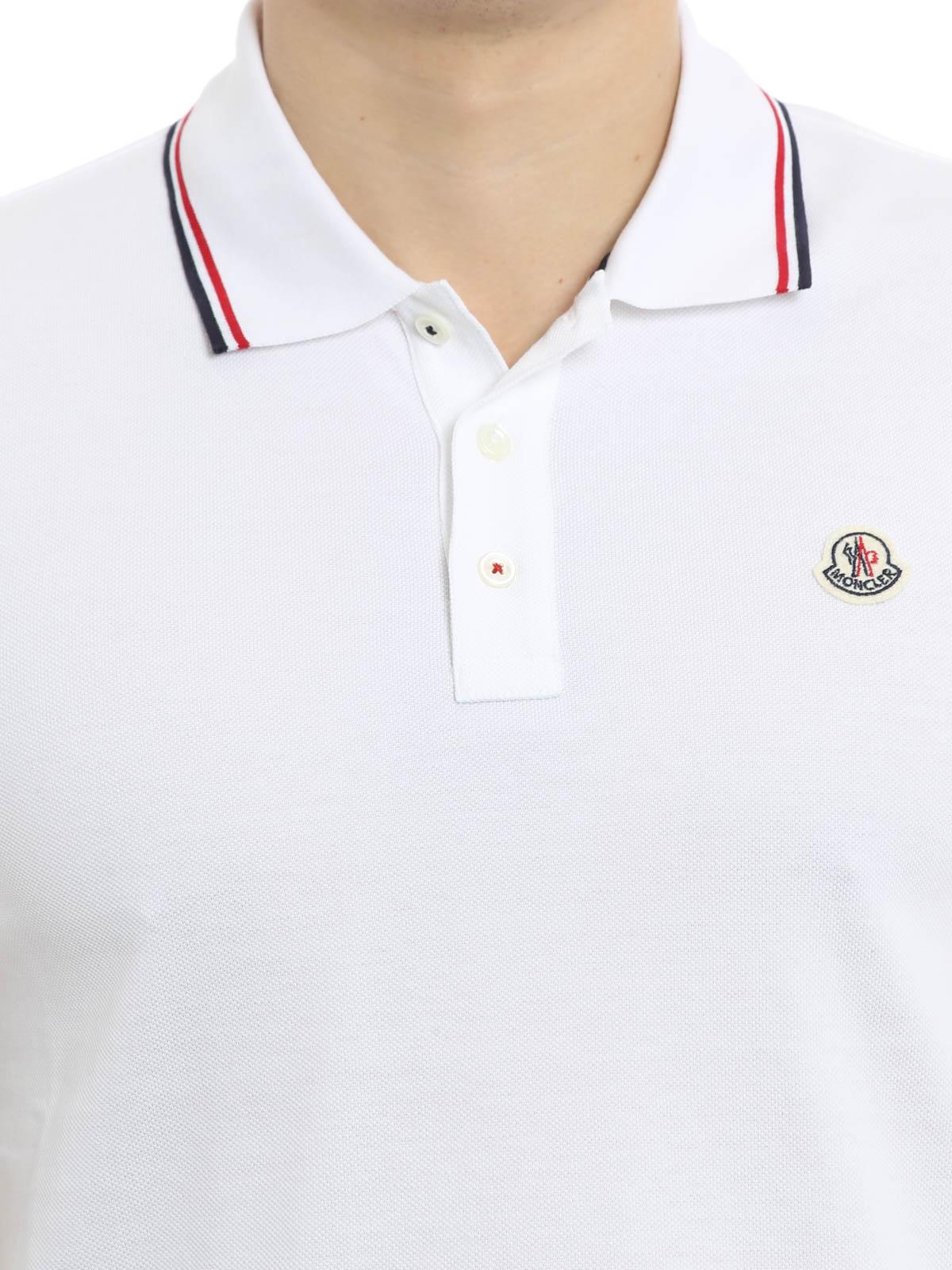 Moncler - Polo Blanc Pour Homme - Polos - C1 091 8345600 84556 001 c85b1a0d4cb