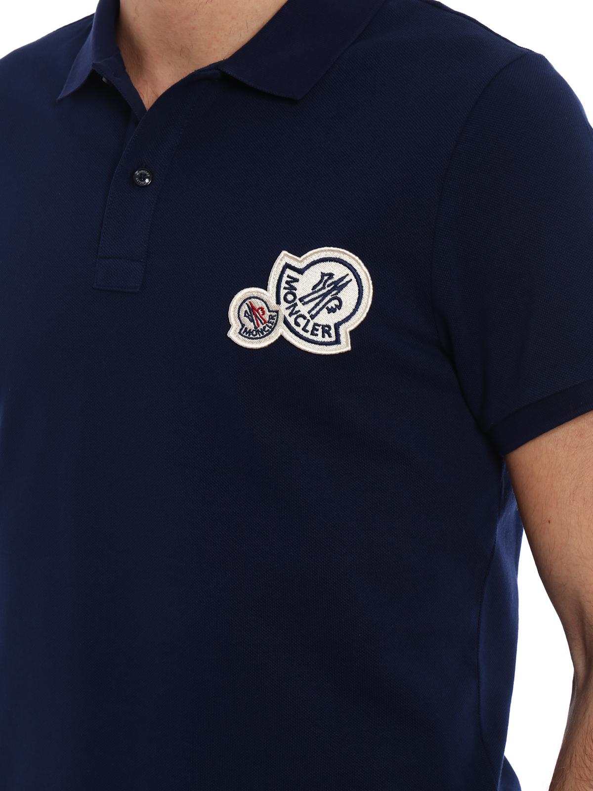 e1064578 Moncler - Logo chest patch navy polo shirt - polo shirts - D1 091 ...