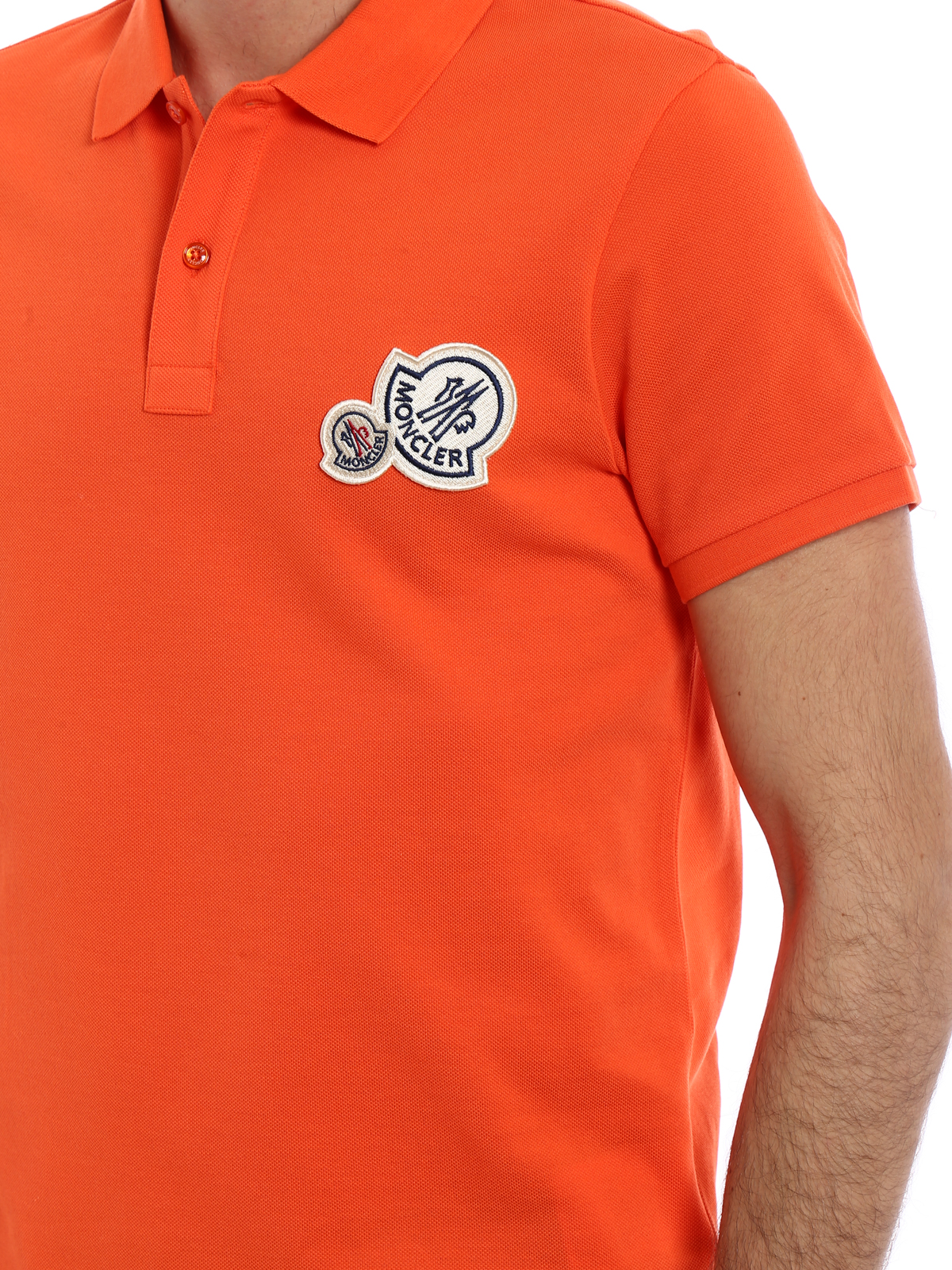 662b5ac57abd Moncler - Logo chest patch orange polo shirt - polo shirts - D1 091 ...