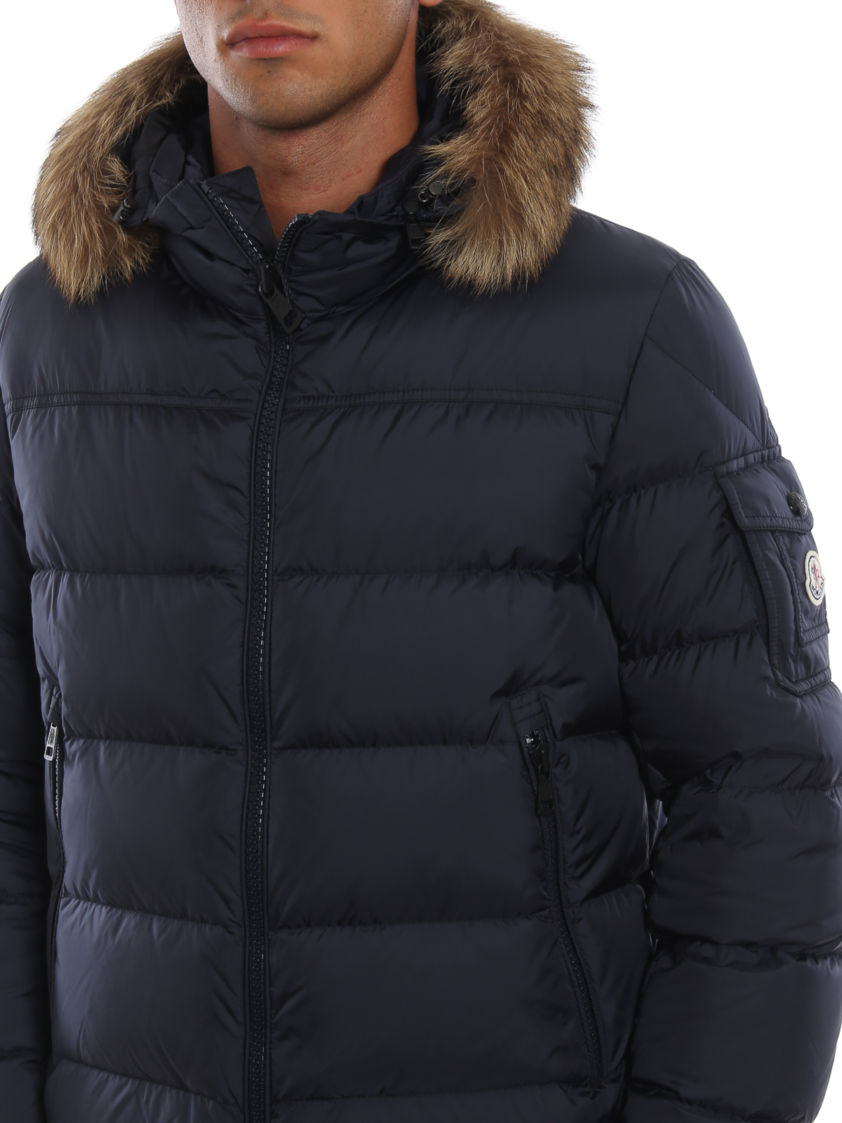 Moncler - Marque puffer jacket with fur trimmed hood - کاپشن - D2 ... ef2f158afde