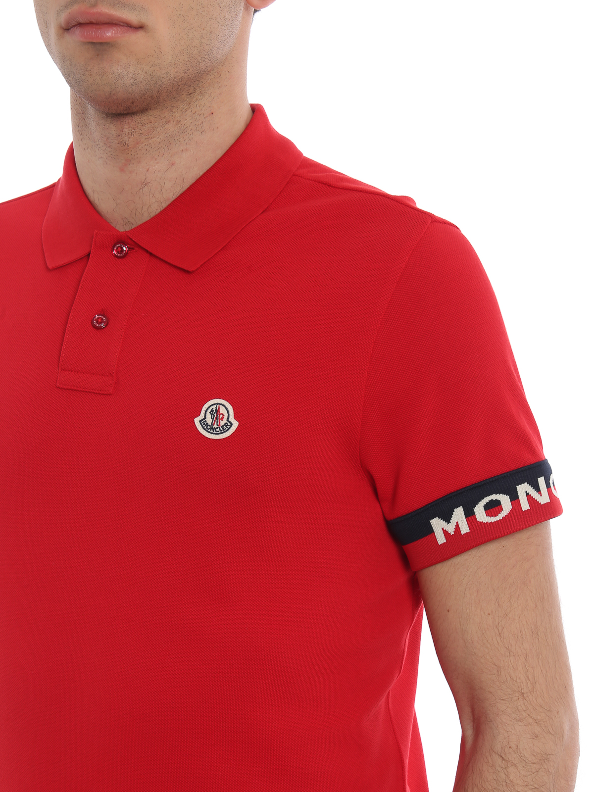 11eb2267 Moncler - Red pique polo shirt with striped cuffs - polo shirts - E1 ...