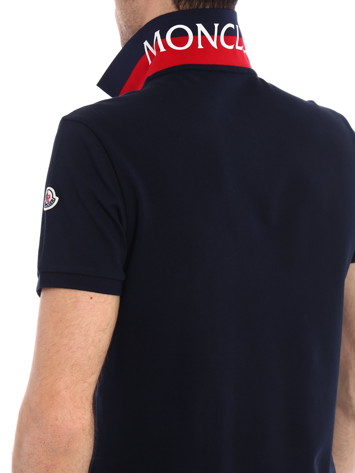 MONCLER buy online Total navy blue polo shirt