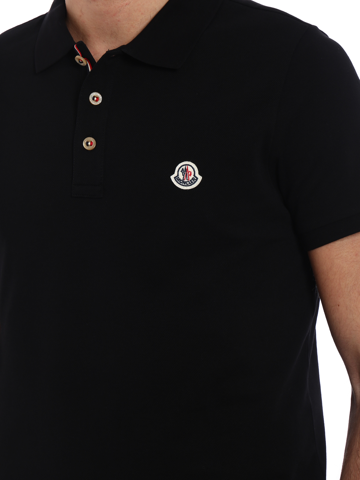 MONCLER buy online Tricolour placket black polo shirt