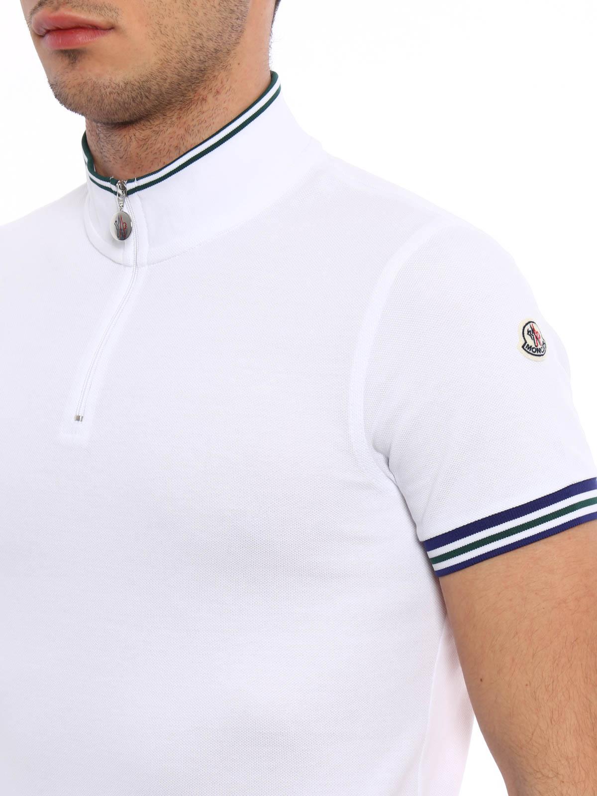 ed2f53d54975 Moncler - Zipped cotton pique polo shirt - polo shirts - C1 091 ...
