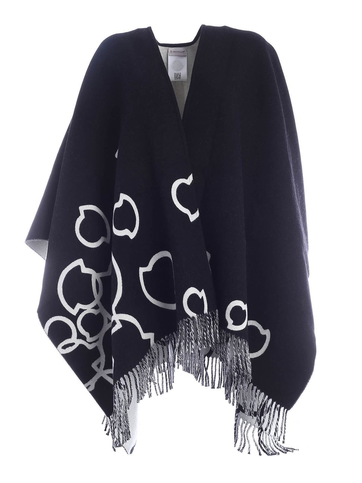 Moncler Capes CAPE FEATURING BLACK AND WHITE FRINGES