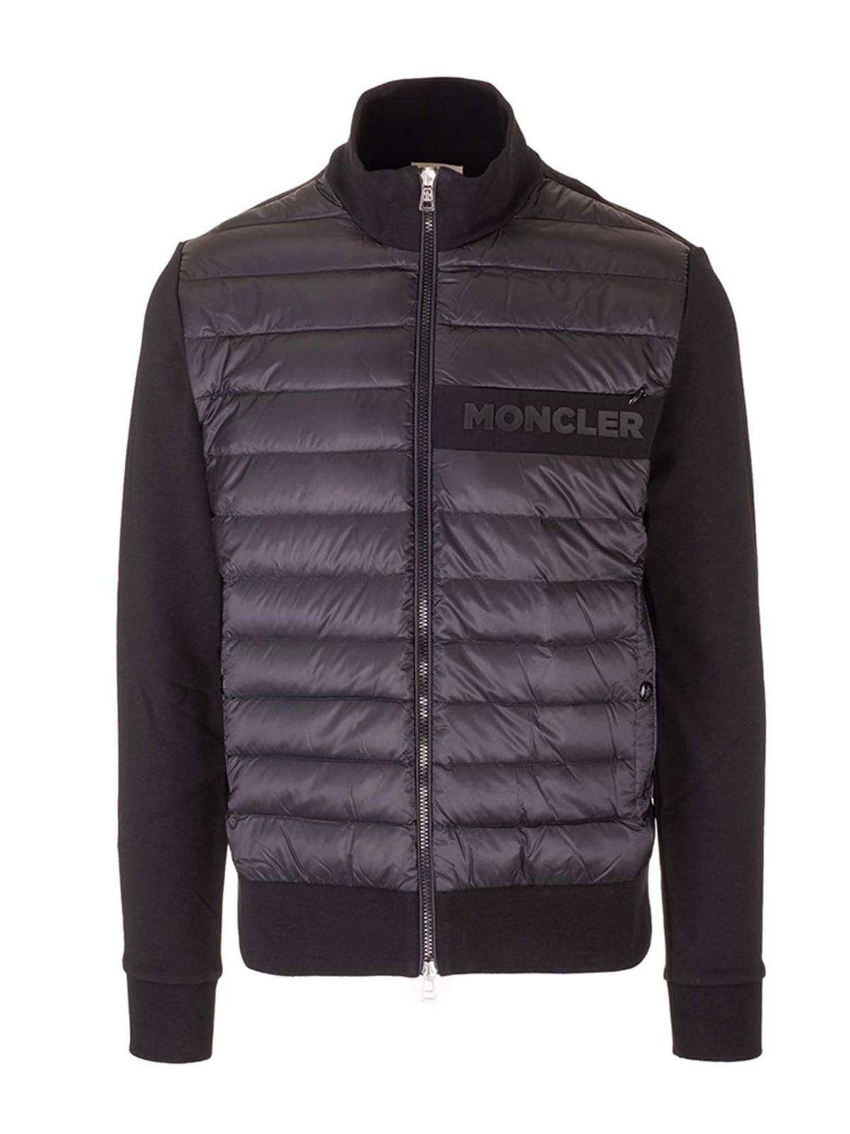 Moncler Cottons BLACK CARDIGAN WITH PADDED INSERT