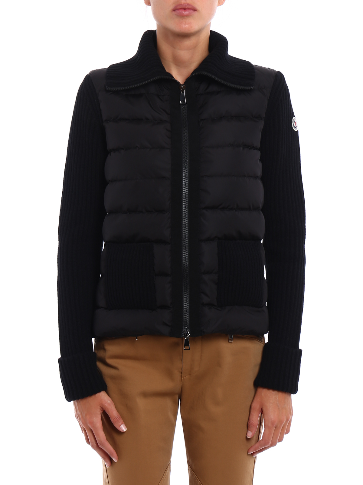 Padded panelled wool cardigan by Moncler - cardigans | iKRIX