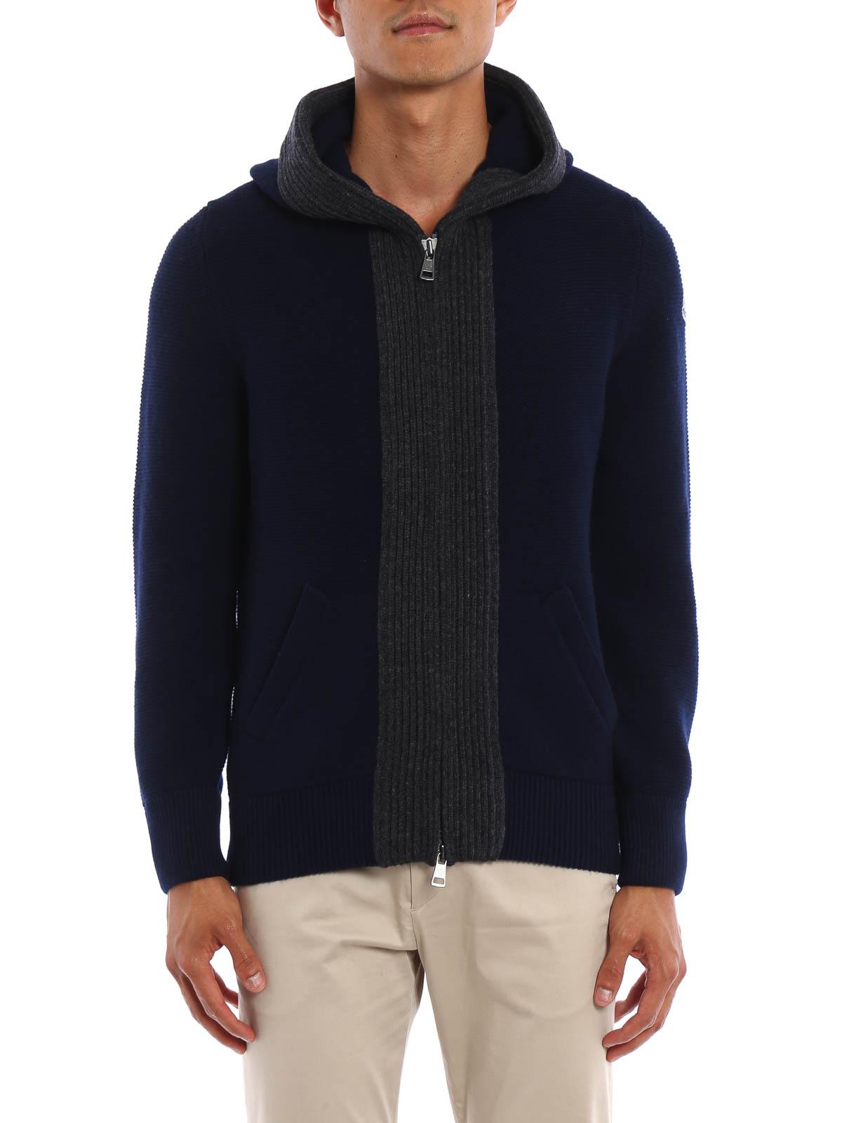 Virgin wool hooded cardigan by Moncler - cardigans | iKRIX