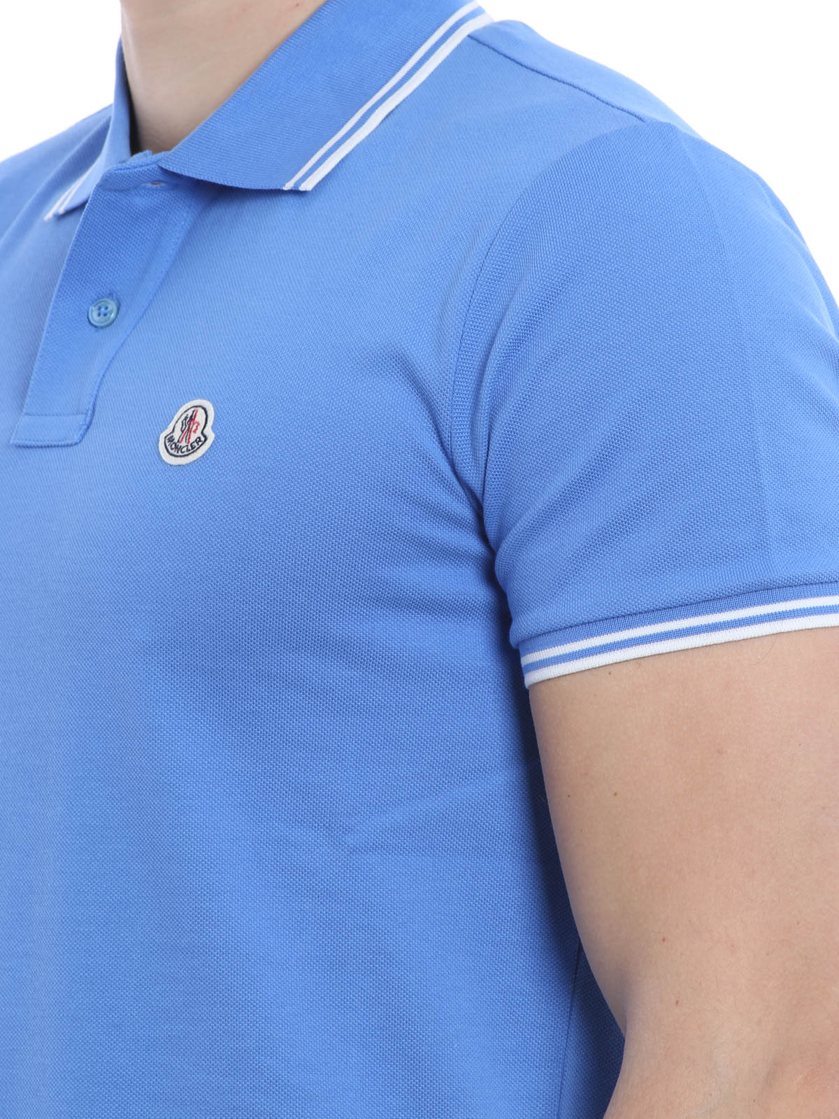 Moncler Poloshirt Fur Herren Hellblau Poloshirts B1