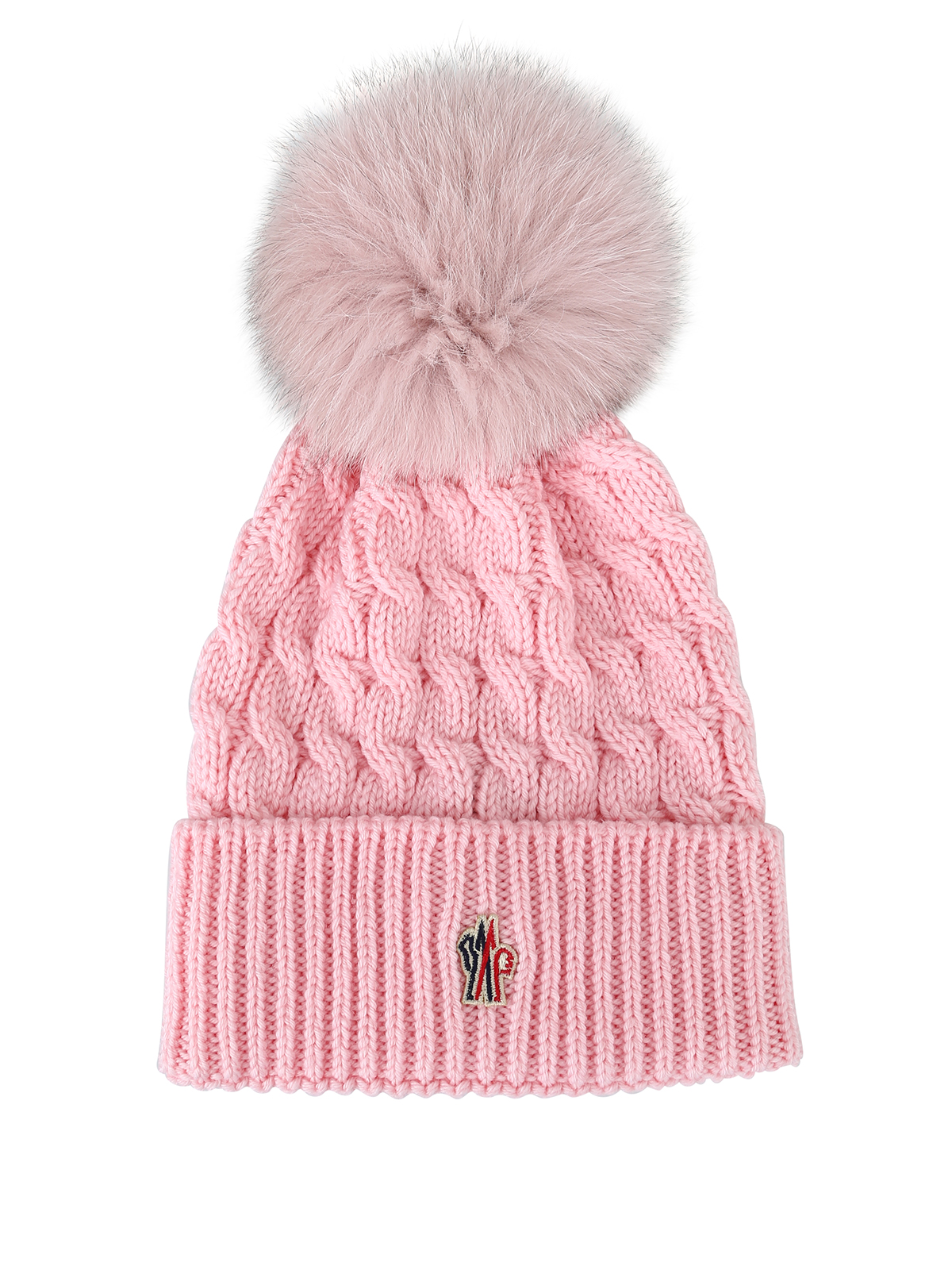 cf887fa8a2e Moncler Grenoble - Fur pompom pink cable knit wool beanie - beanies ...