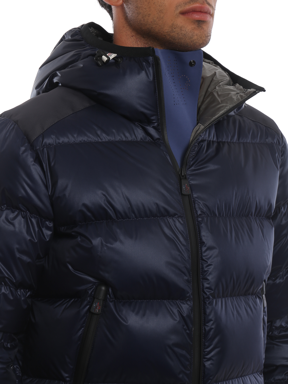 MONCLER GRENOBLE buy online Interthux dark blue hooded puffer jacket