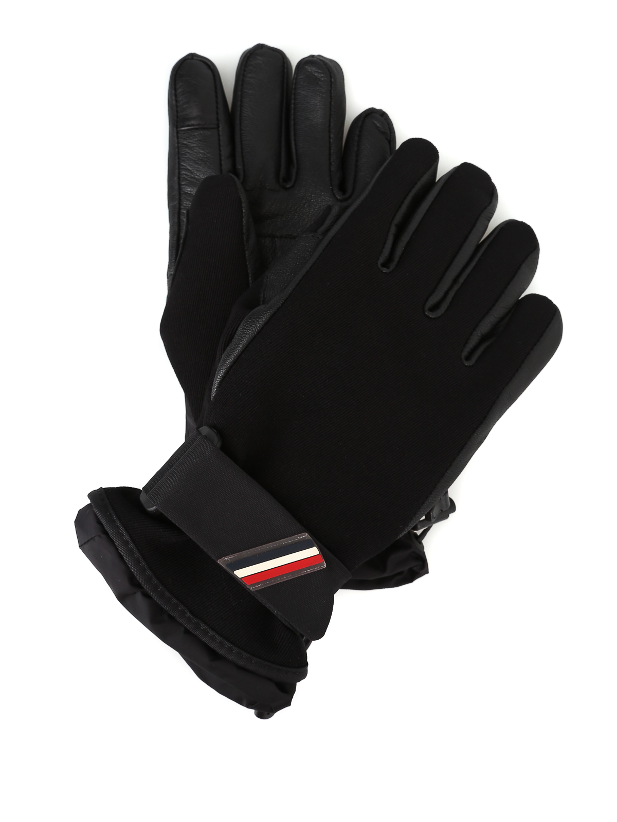 f3fb28501 Moncler Grenoble - Leather and stretch technical fabric gloves ...