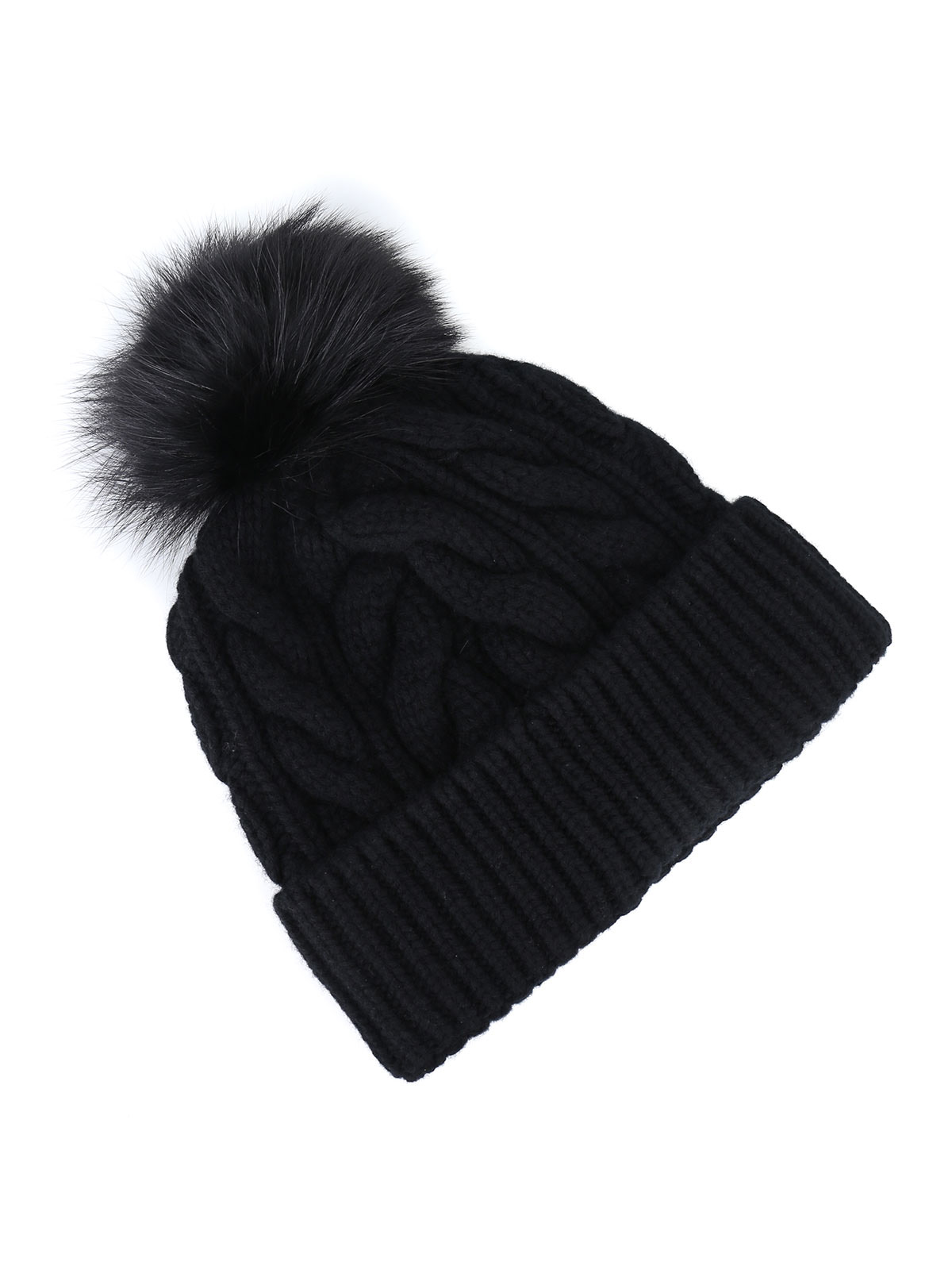 moncler cable knit beanie black