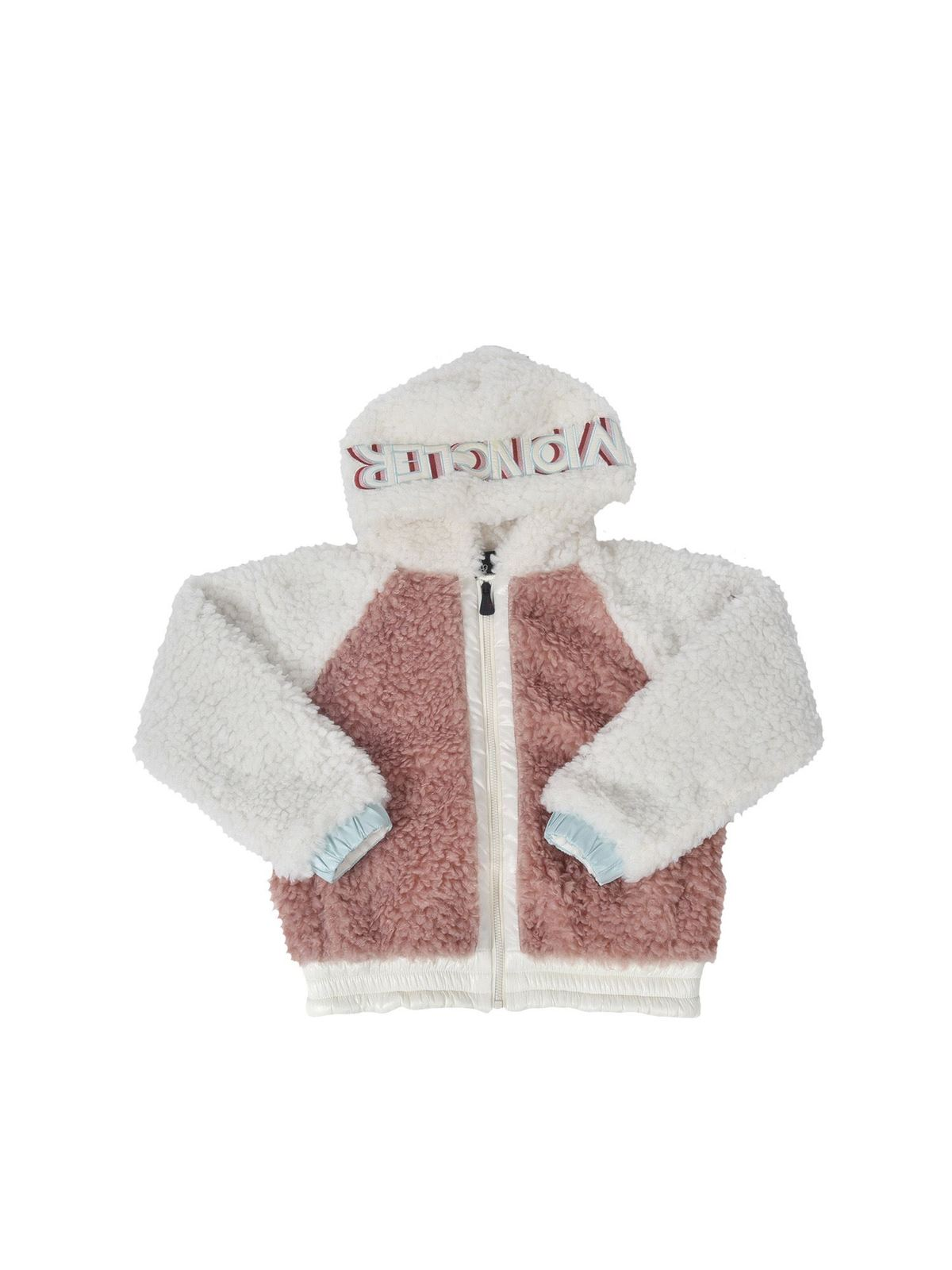 MONCLER JR TEDDY EFFECT JACKET IN WHITE AND PINK