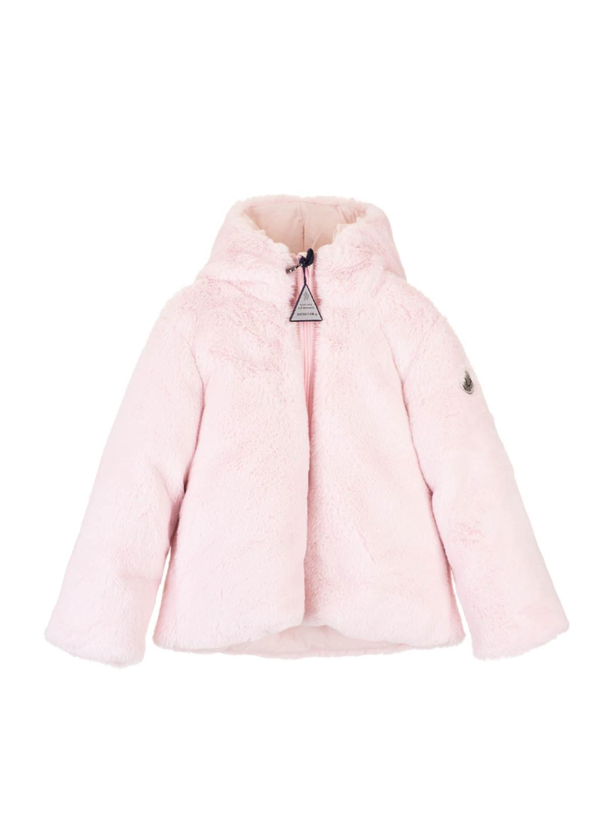 Moncler Jr Furs ECO-FUR JACKET IN PINK