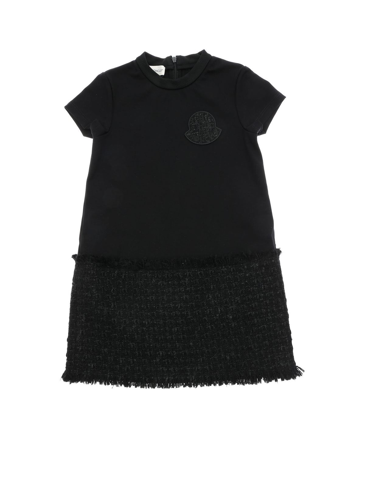 Moncler Jr Linings BLACK DRESS WITH BOUCLE DETAIL