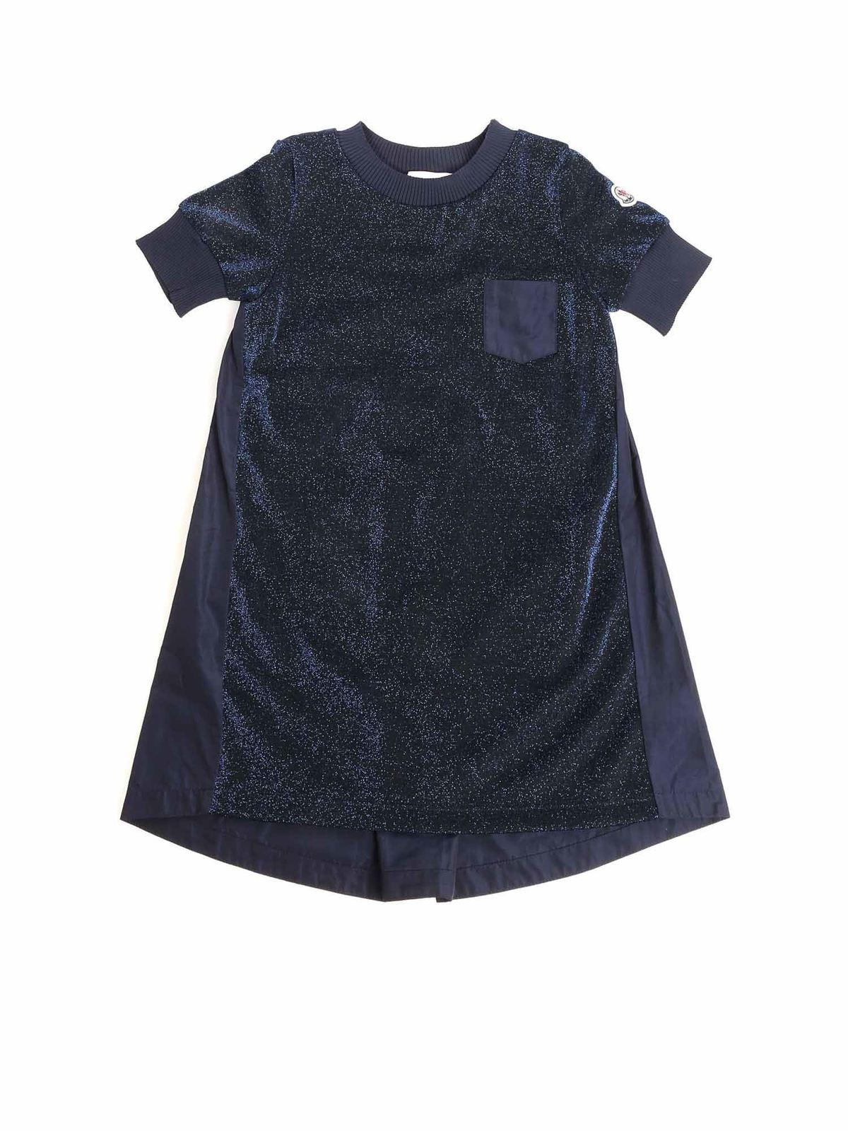 Moncler Jr Cottons BLUE DRESS WITH LOGO DETAIL