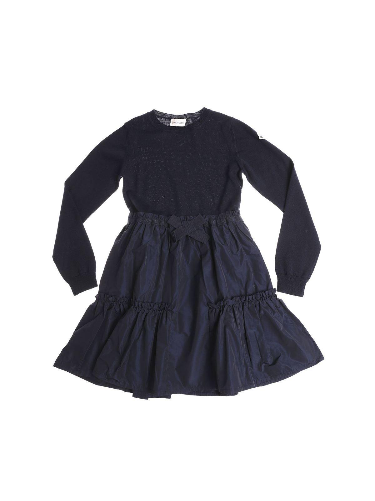 MONCLER JR BLUE VIRGIN WOOL DRESS WITH FLOUNCED SKIRT