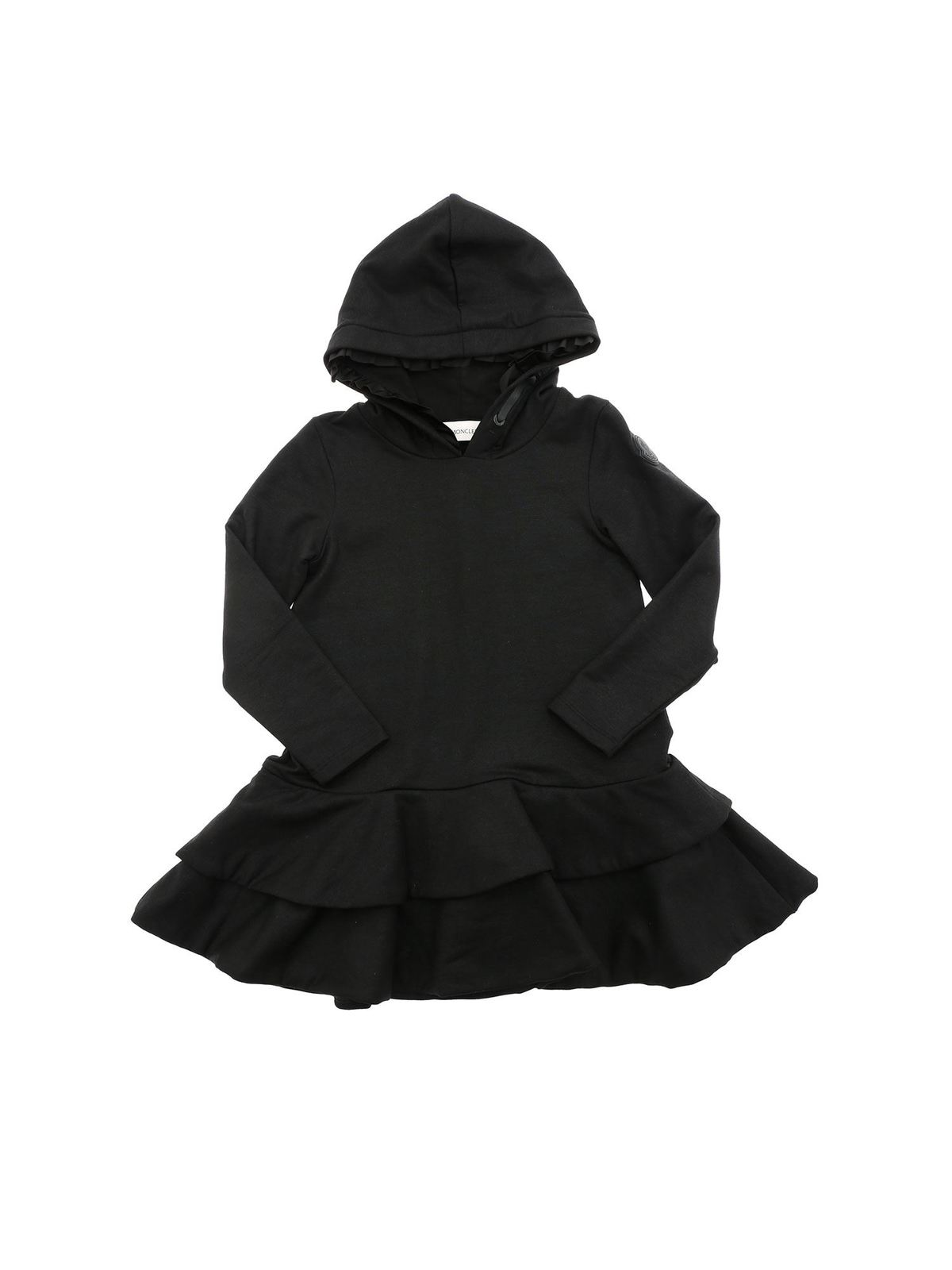 Moncler Jr Cottons FLOUNCES ON THE BOTTOM DRESS IN BLACK