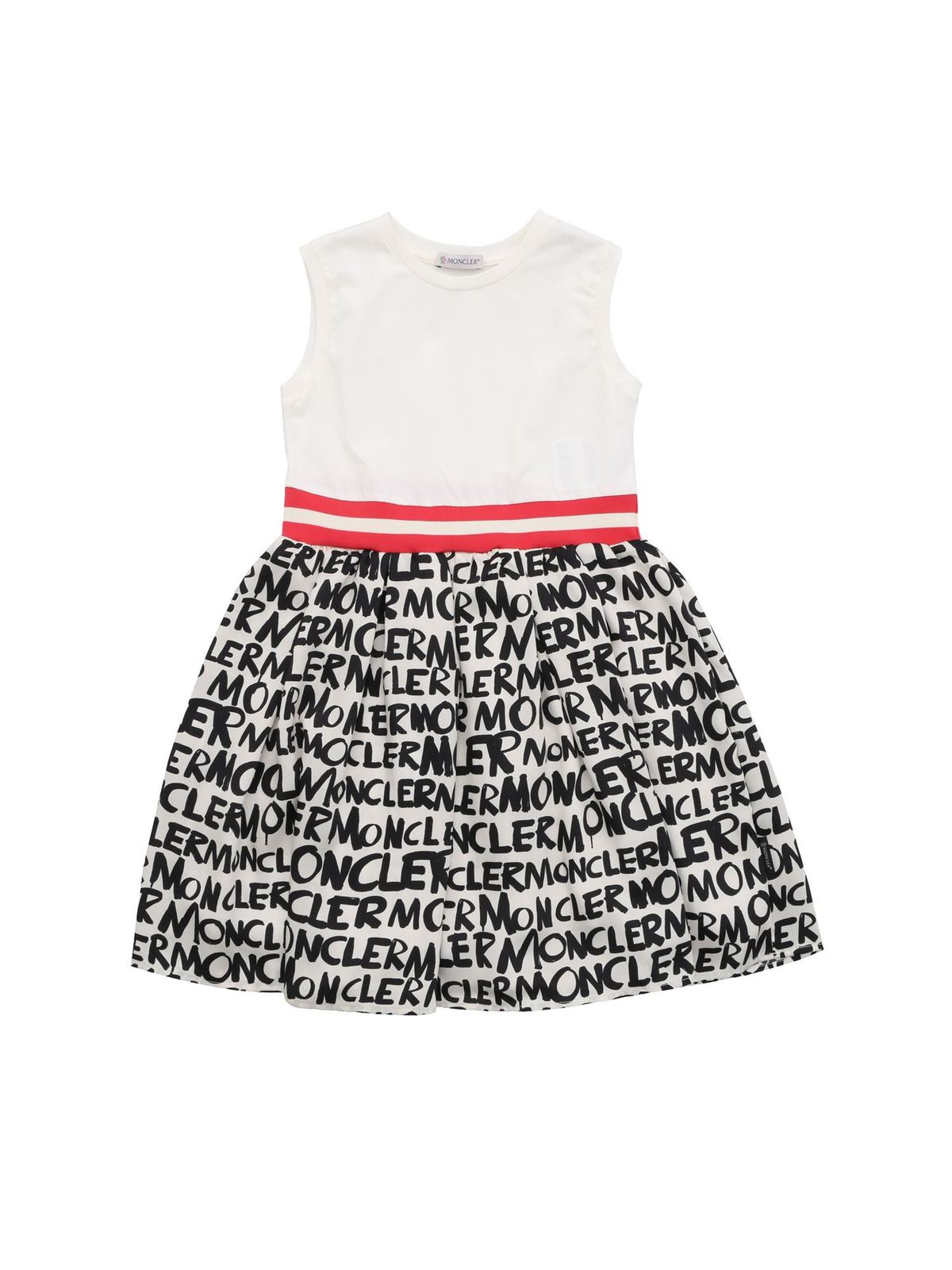 MONCLER JR MONCLER PRINTED CREAM SLEEVELESS DRESS