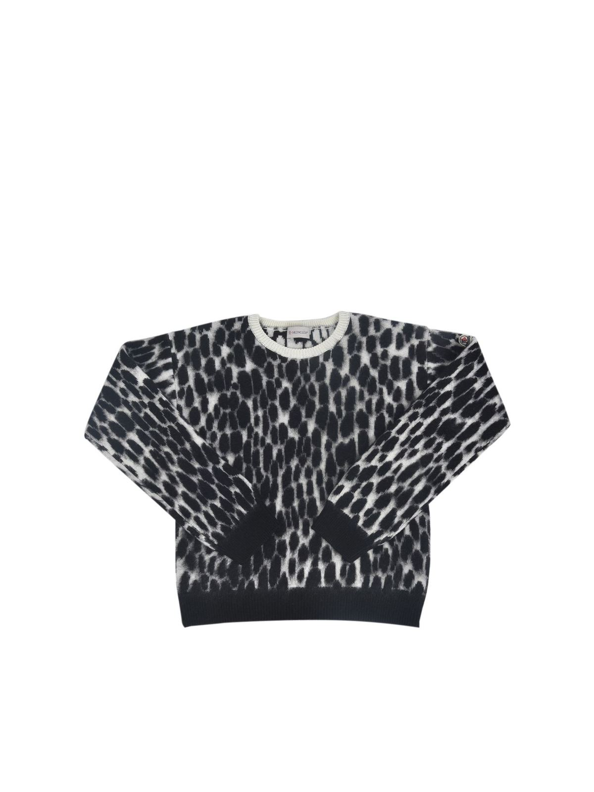 Moncler Jr Clothing ANIMALIER PULLOVER IN BLACK AND WHITE
