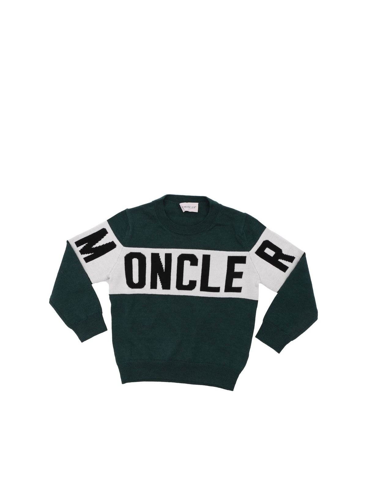 MONCLER JR GREEN VIRGIN WOOL PULLOVER
