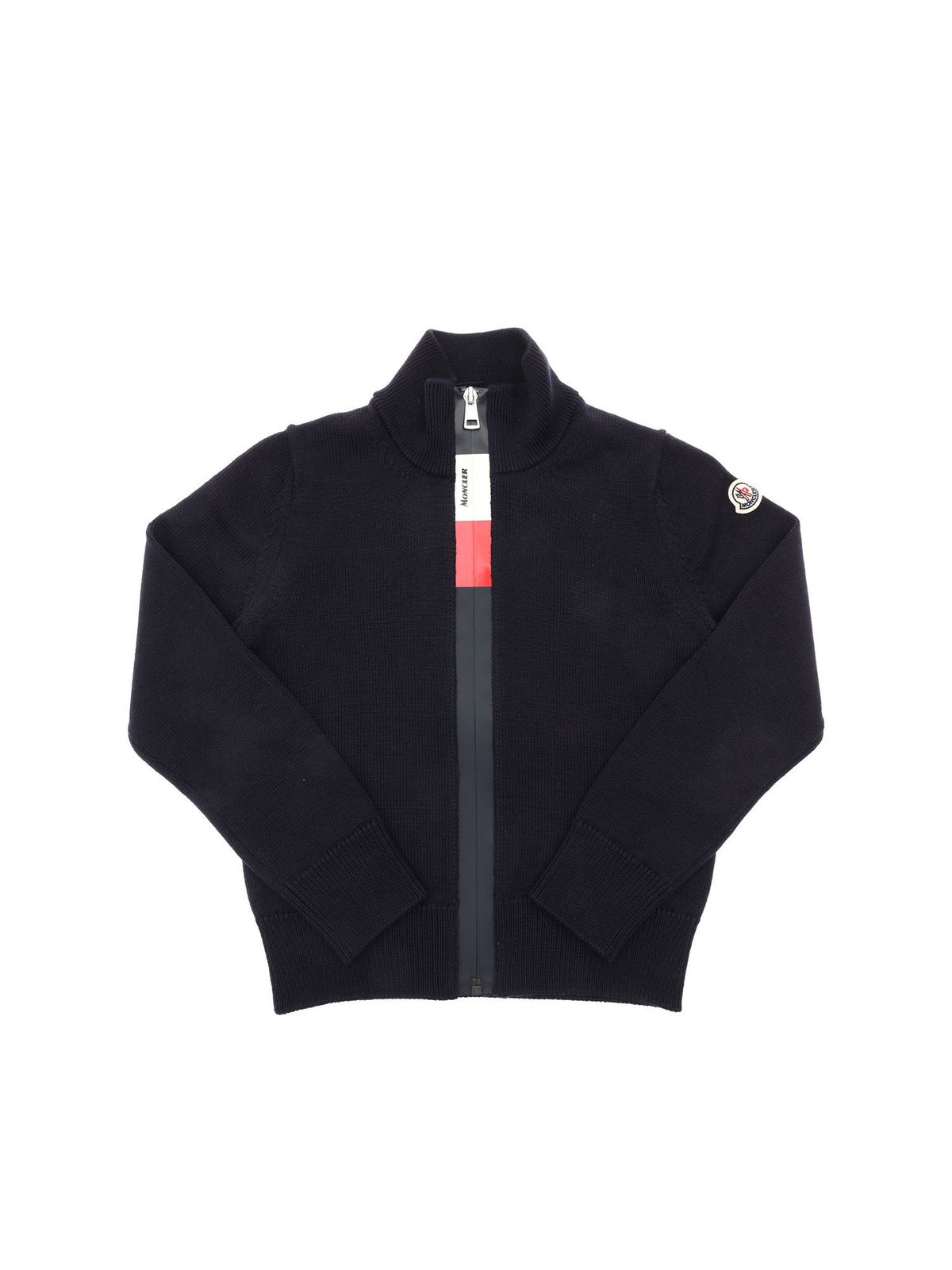 MONCLER JR LOGO PATCH CARDIGAN IN BLUE
