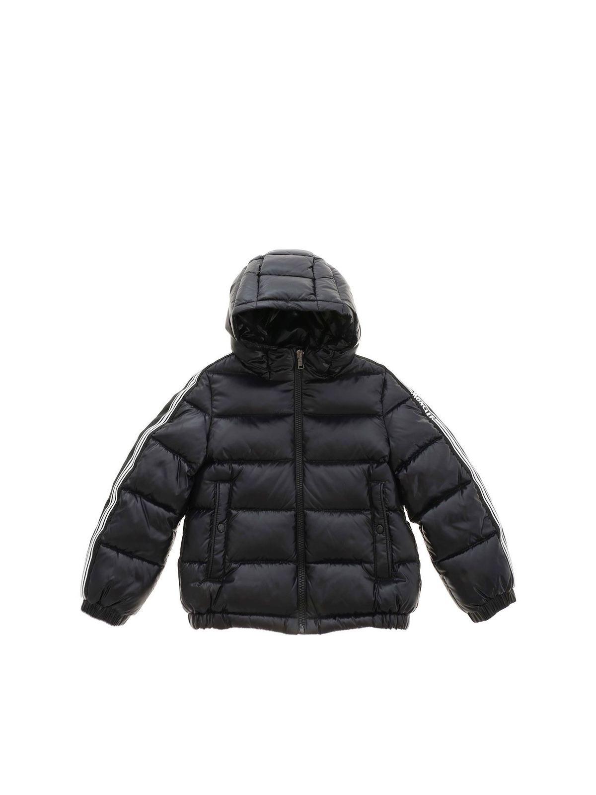 MONCLER JR AL BLACK DOWN JACKET FEATURING HOOD