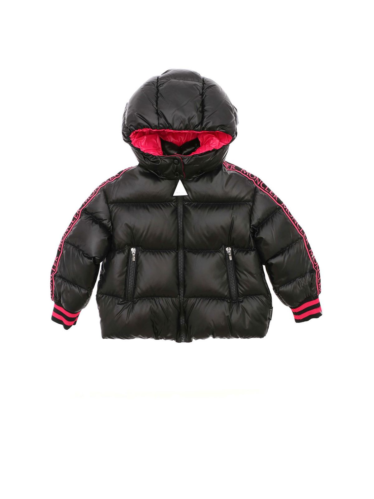 MONCLER JR AZZURRA BLACK DOWN JACKET WITH BRANDED BANDS