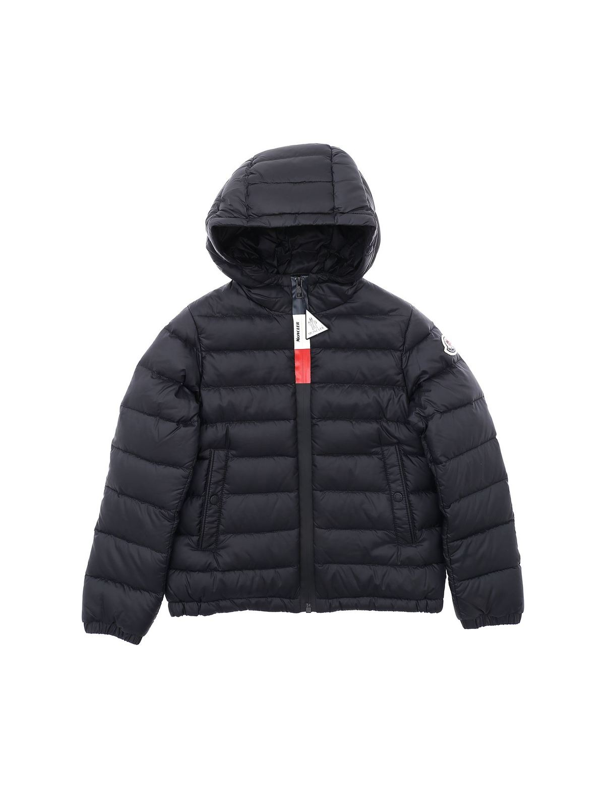 MONCLER JR ROOK BLACK DOWN JACKET WITH HOOD