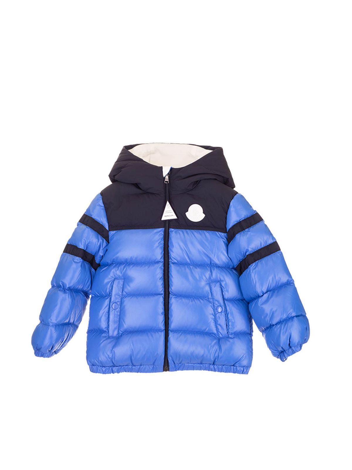 Moncler Jr Downs TWO-TONE LOGO DOWN JACKET IN BLUE AND BLACK