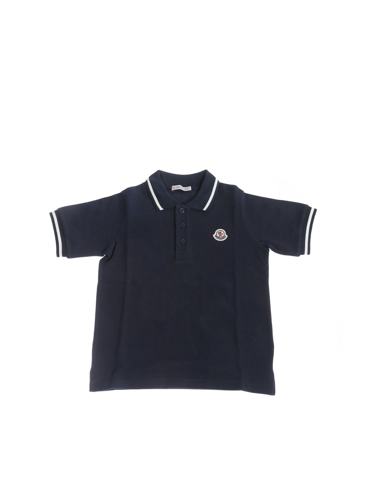 Moncler Jr BLUE POLO SHIRT WITH CONTRASTING DETAILS